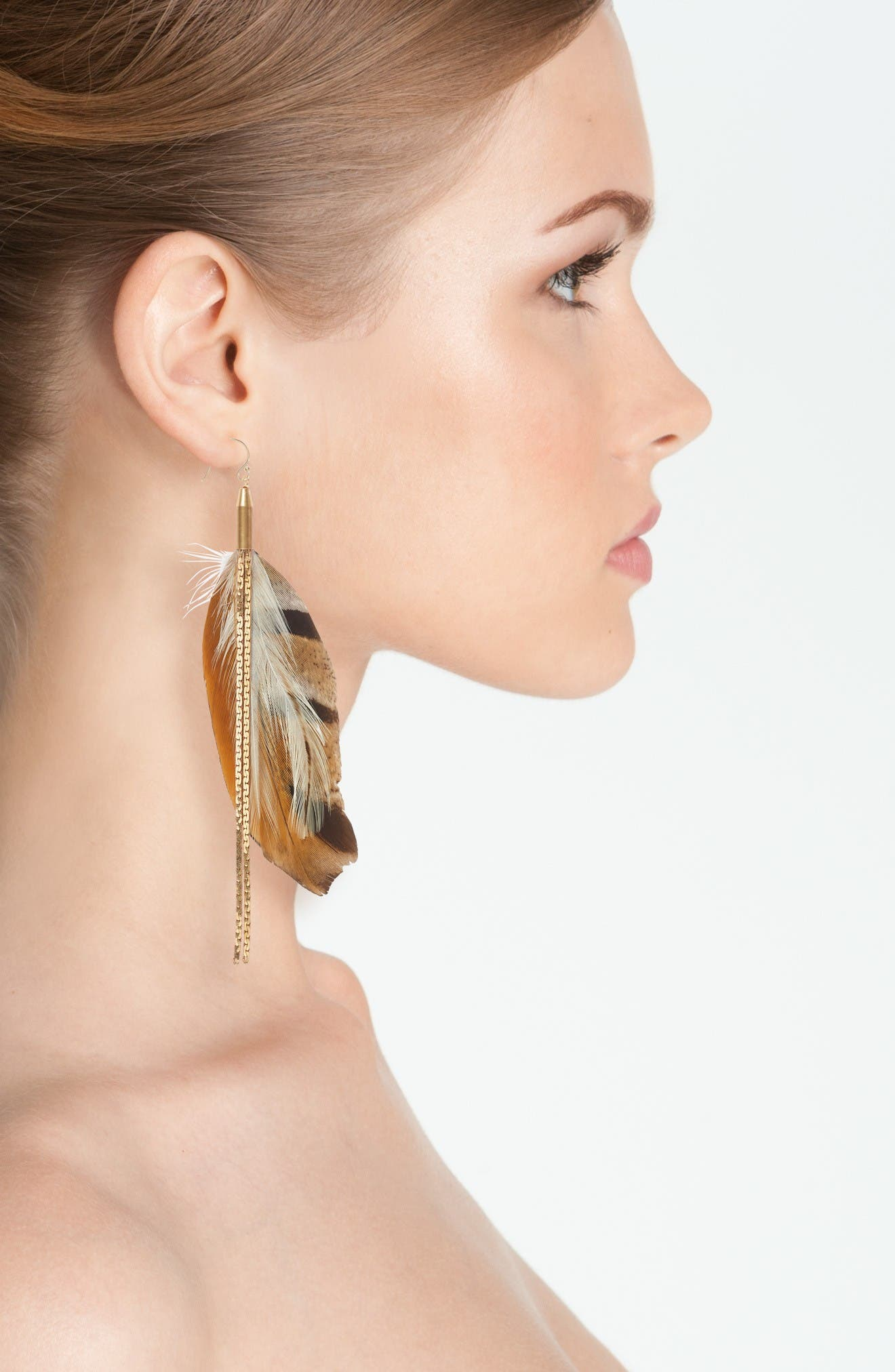 Vintage Feather Drop Earrings,                             Alternate thumbnail 2, color,                             Brown/ Gold