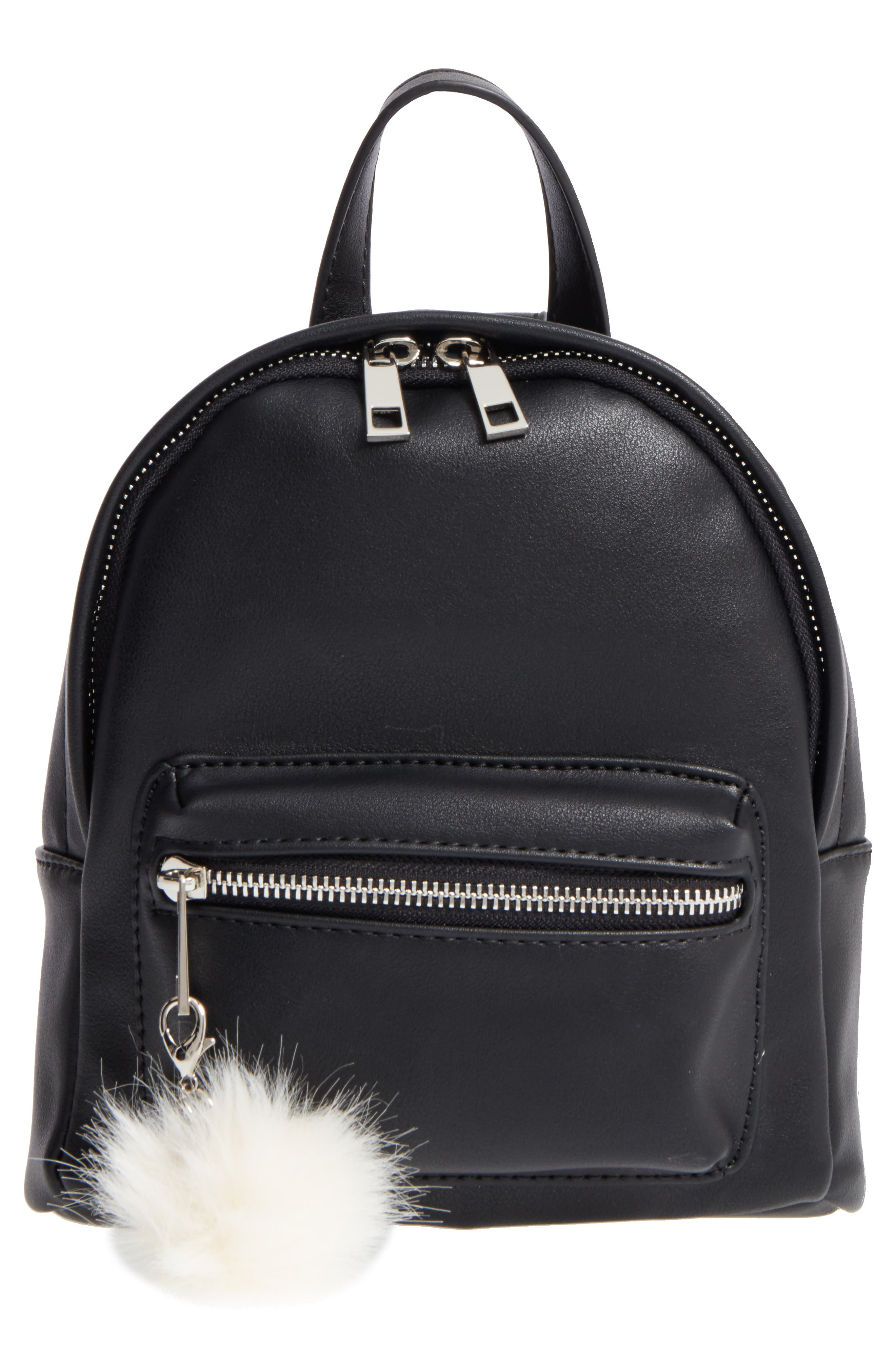 Faux Leather Mini Backpack,                         Main,                         color, Black