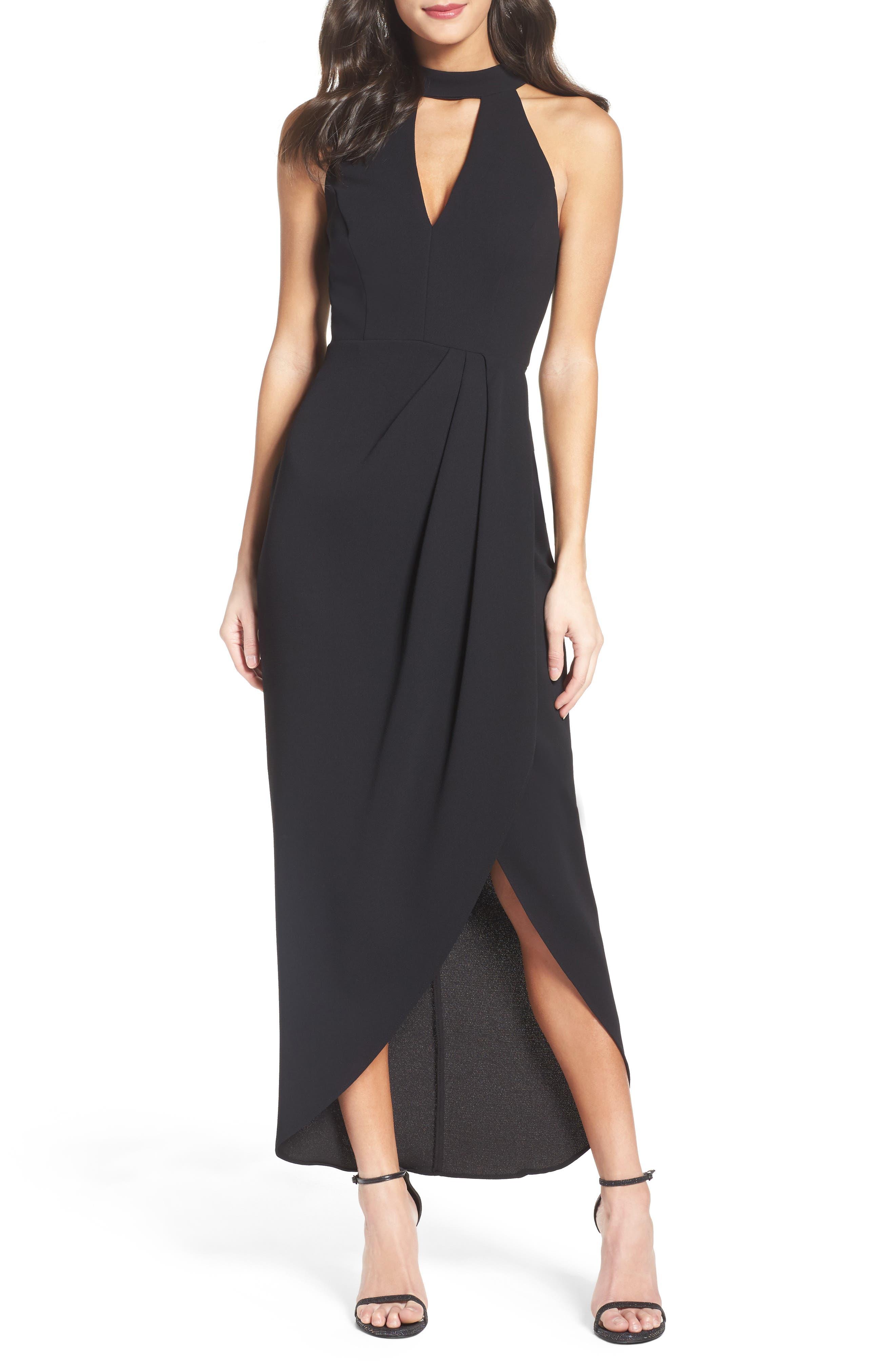 XSCAPE Crepe Midi Dress