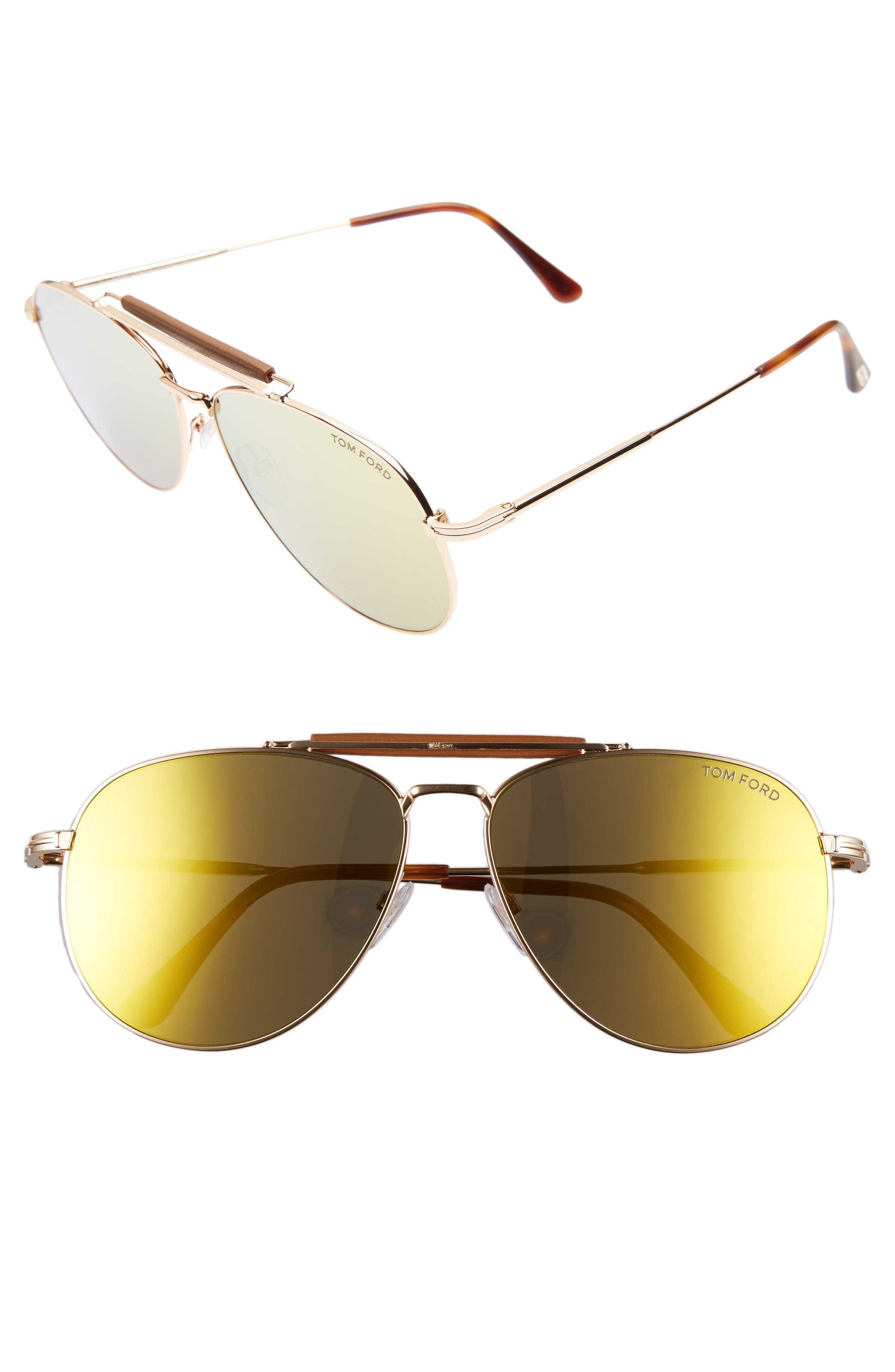 SEAN 60MM AVIATOR SUNGLASSES - ROSE GOLD/ BROWN/ GOLD MIRROR