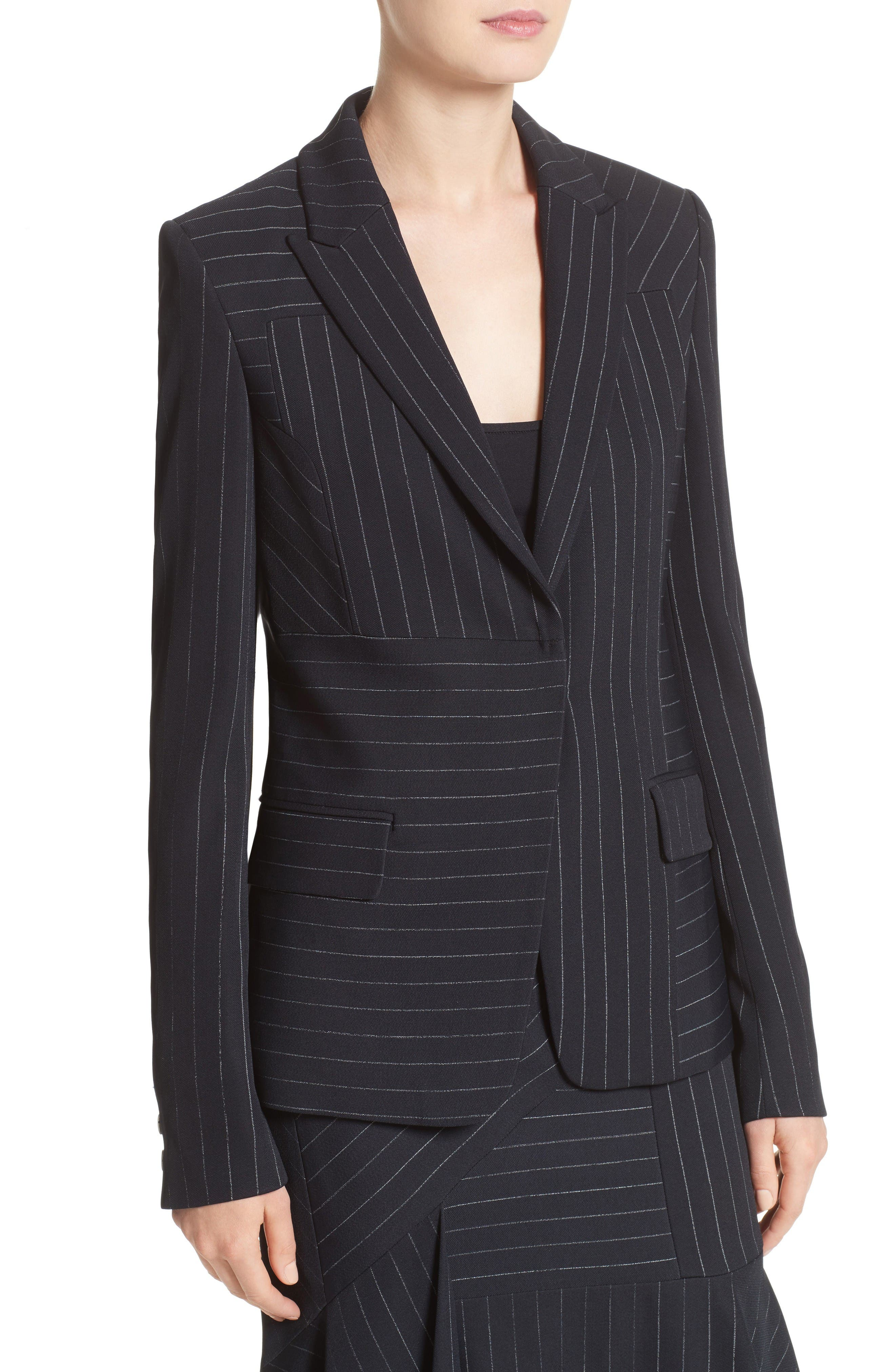 Pinstripe Stretch Jacket,                             Alternate thumbnail 7, color,                             Black/ Chalk