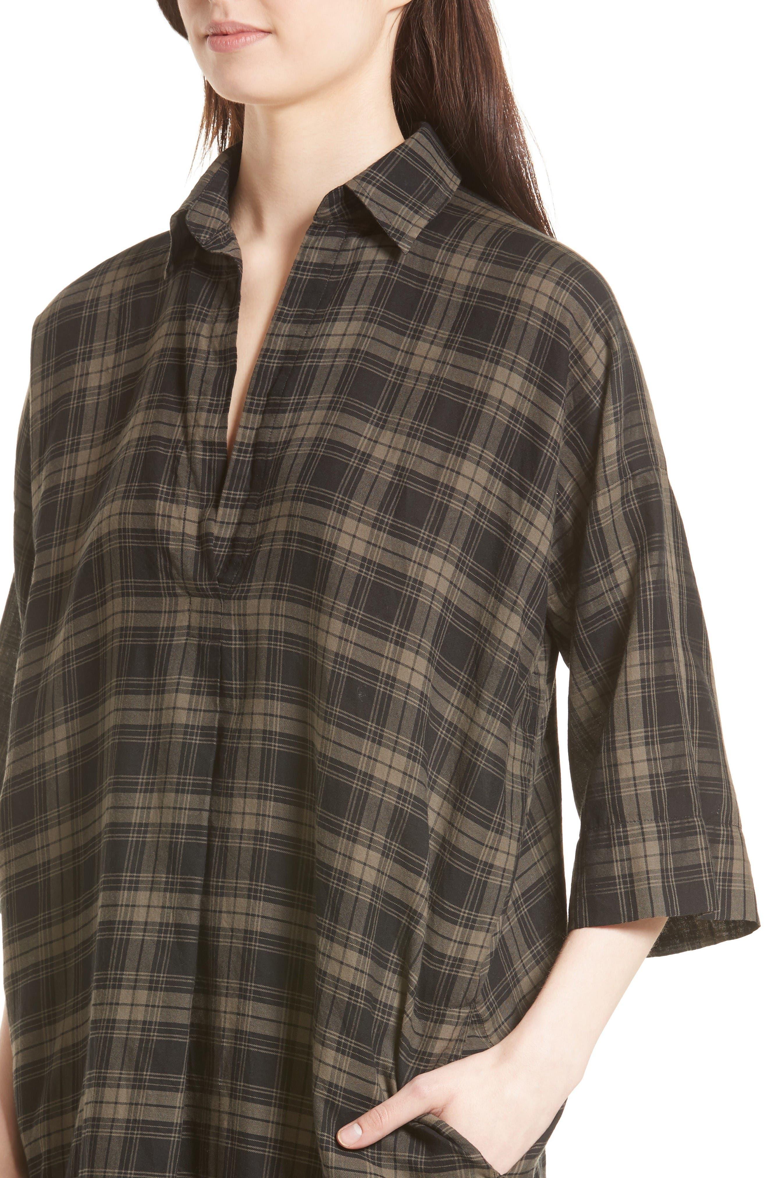 Alternate Image 4  - Vince Plaid Shirtdress