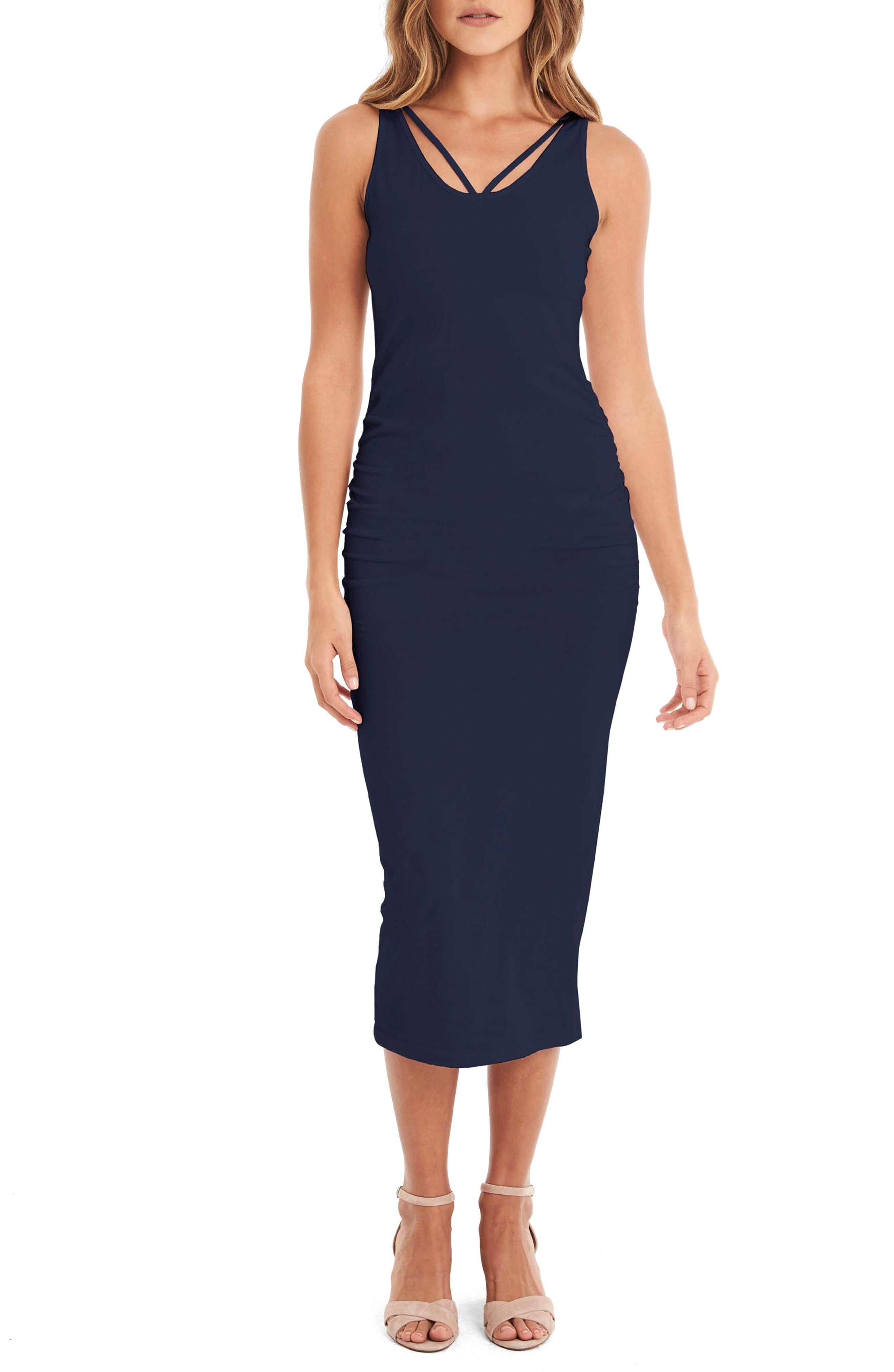 Reversible Stretch Cotton Midi Dress,                             Alternate thumbnail 4, color,                             Nocturnal