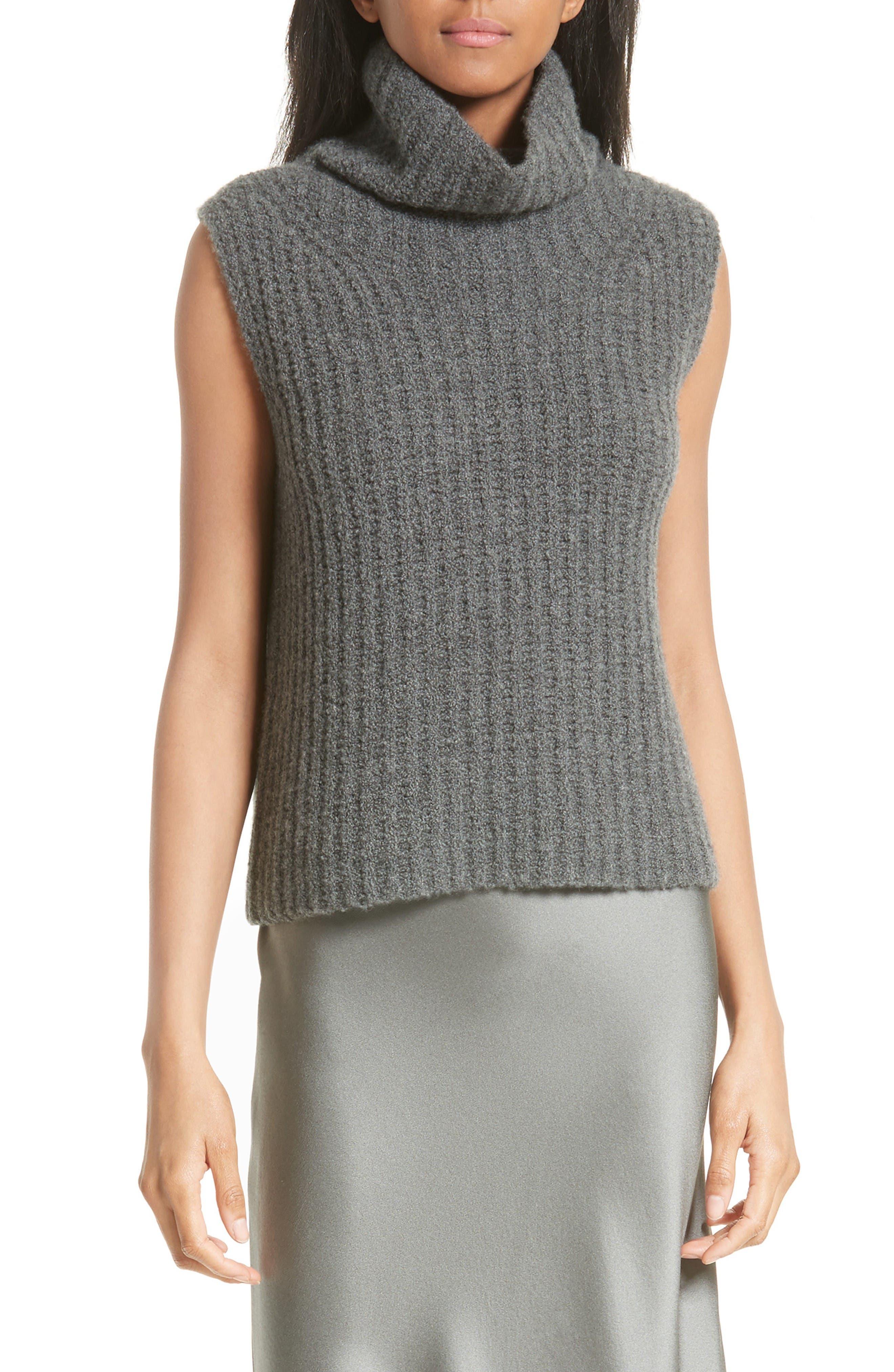 Sleeveless Cashmere Blend Turtleneck,                         Main,                         color, Charcoal