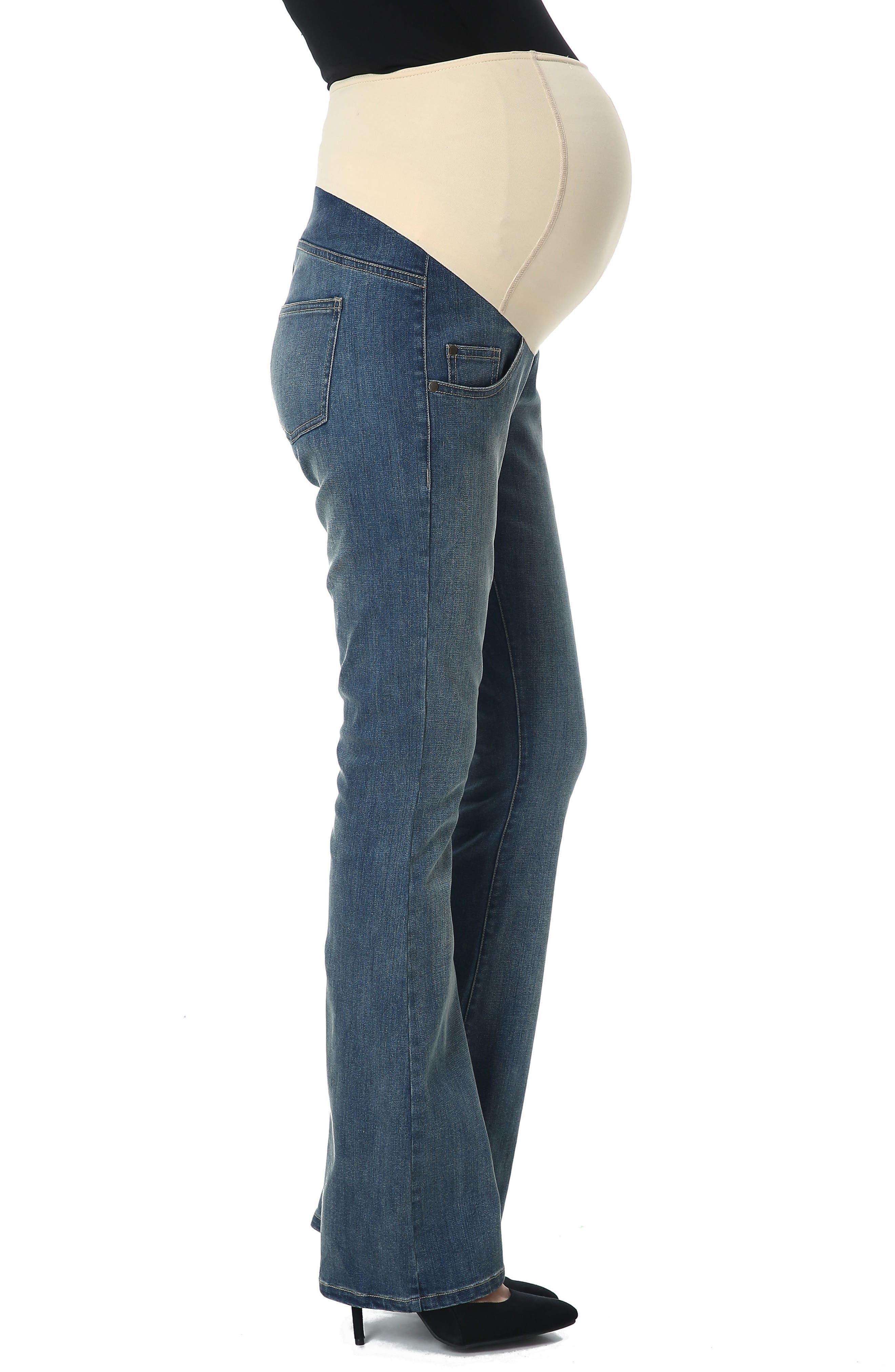 Dixie Maternity Flare Jeans,                             Alternate thumbnail 3, color,                             Medium Indigo
