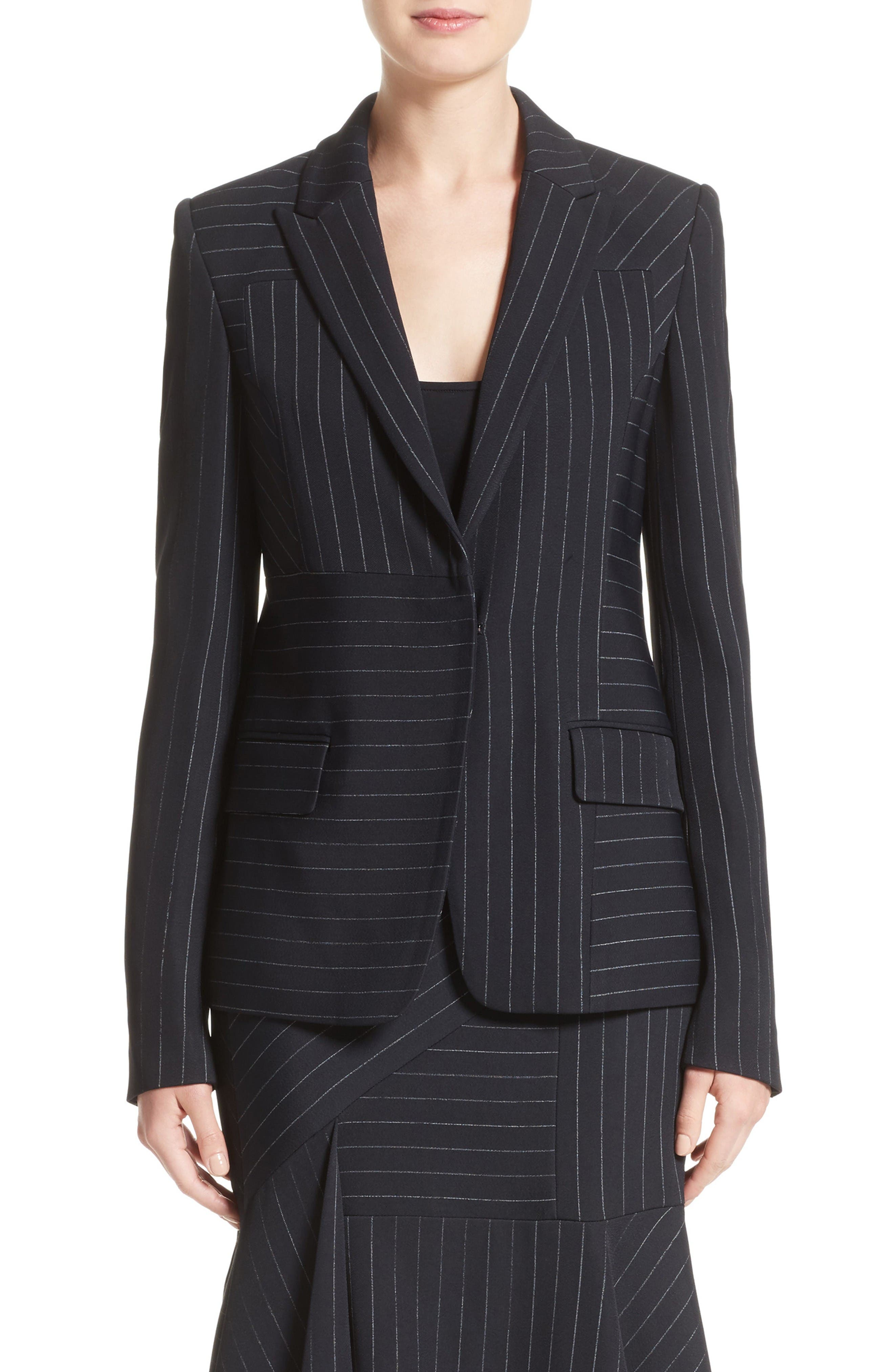 Pinstripe Stretch Jacket,                             Main thumbnail 1, color,                             Black/ Chalk
