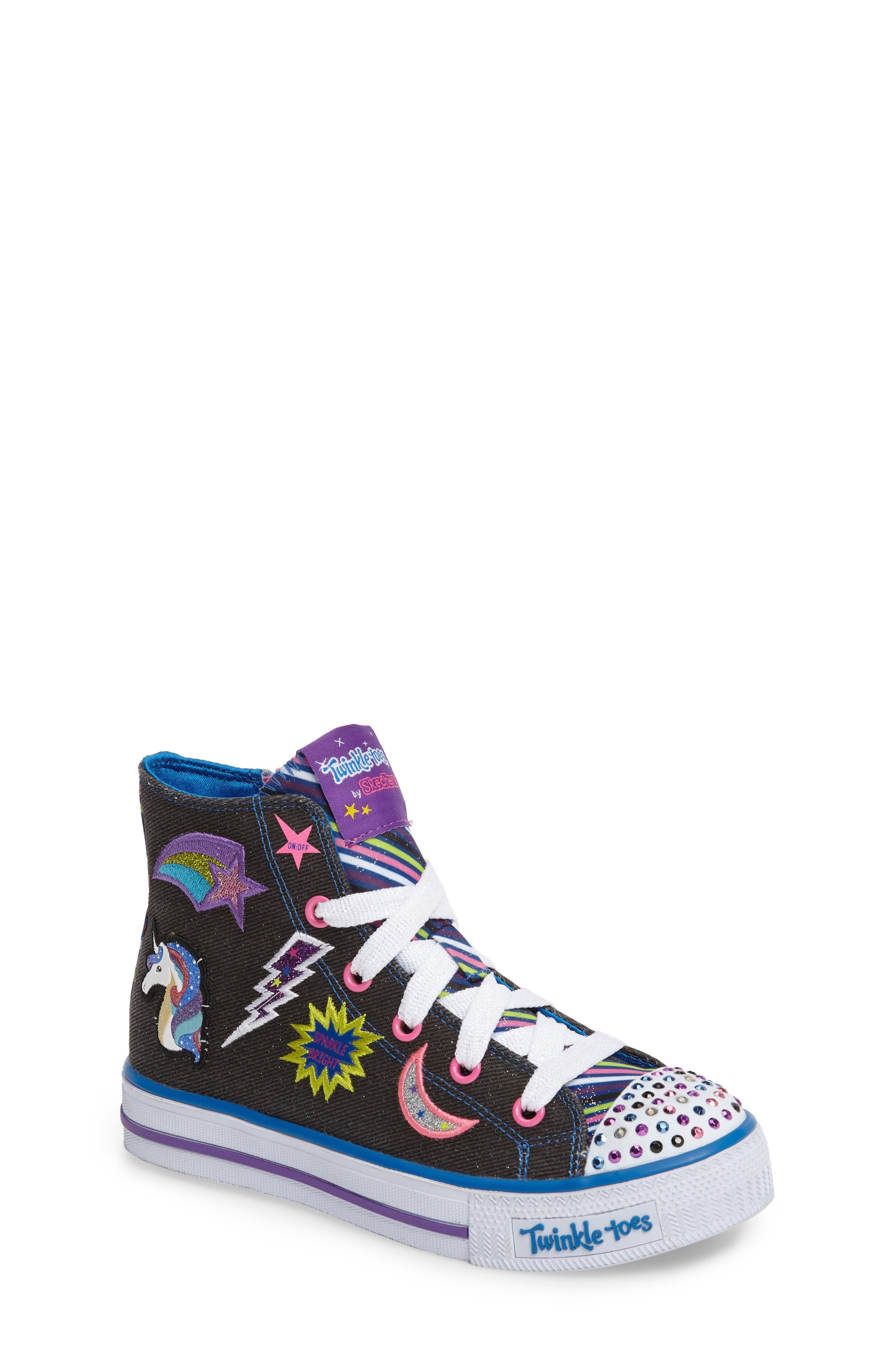 Twinkle Toes Shuffles Light-Up High Top Sneaker,                         Main,                         color, Black Canvas