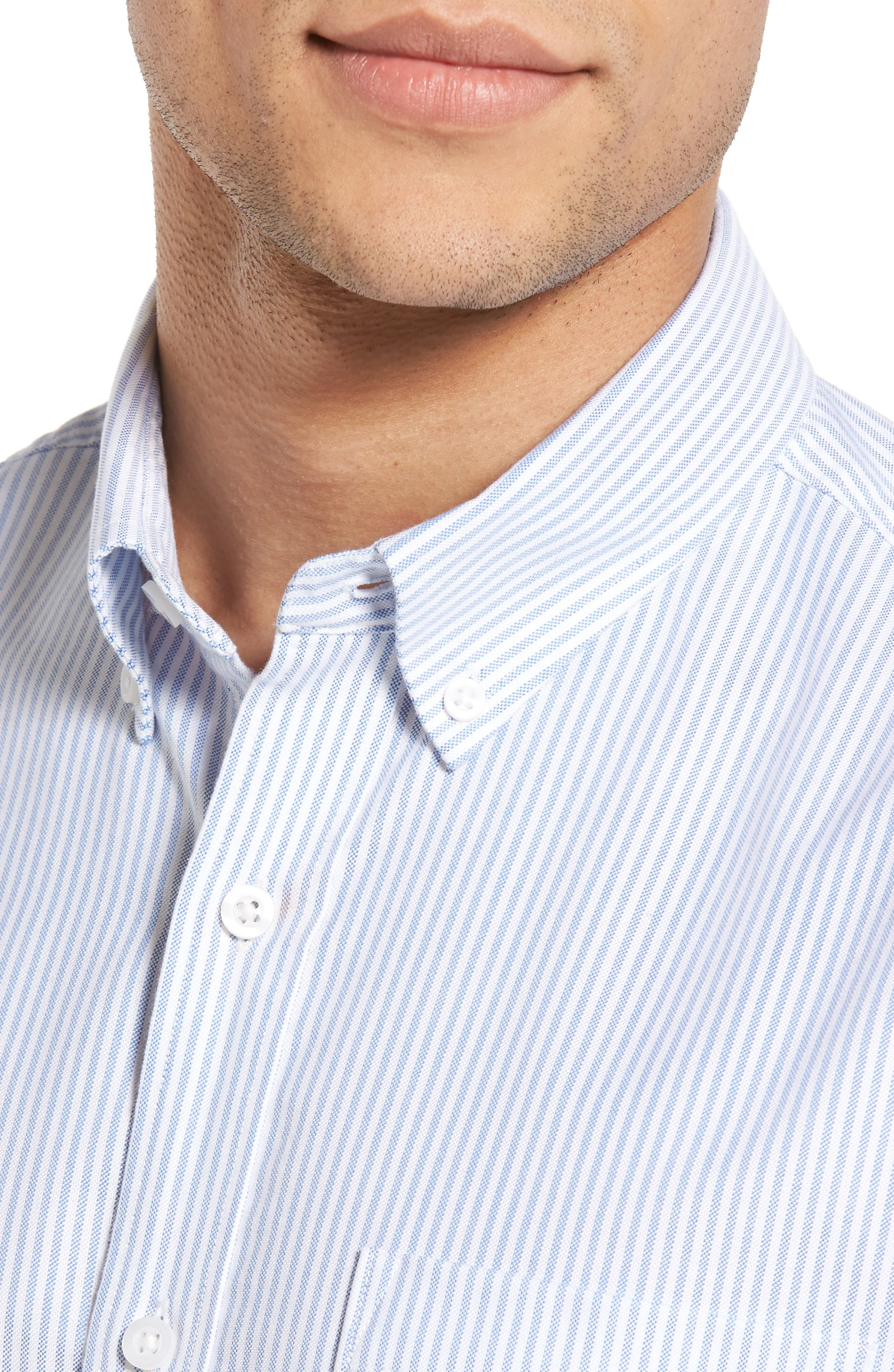 Alternate Image 4  - 1901 Trim Fit Bengal Stripe Sport Shirt