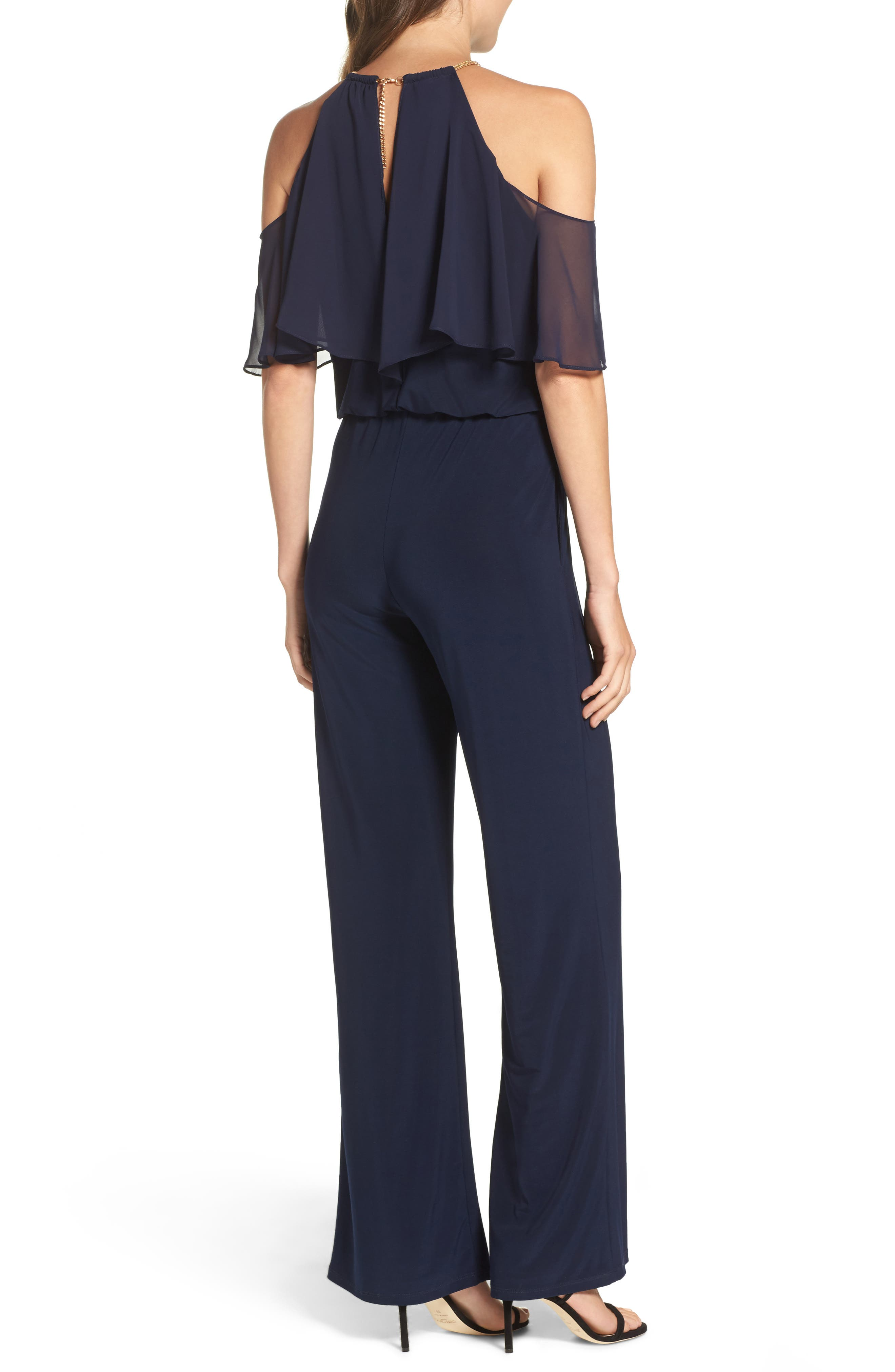 Cold Shoulder Jumpsuit,                             Alternate thumbnail 2, color,                             Navy