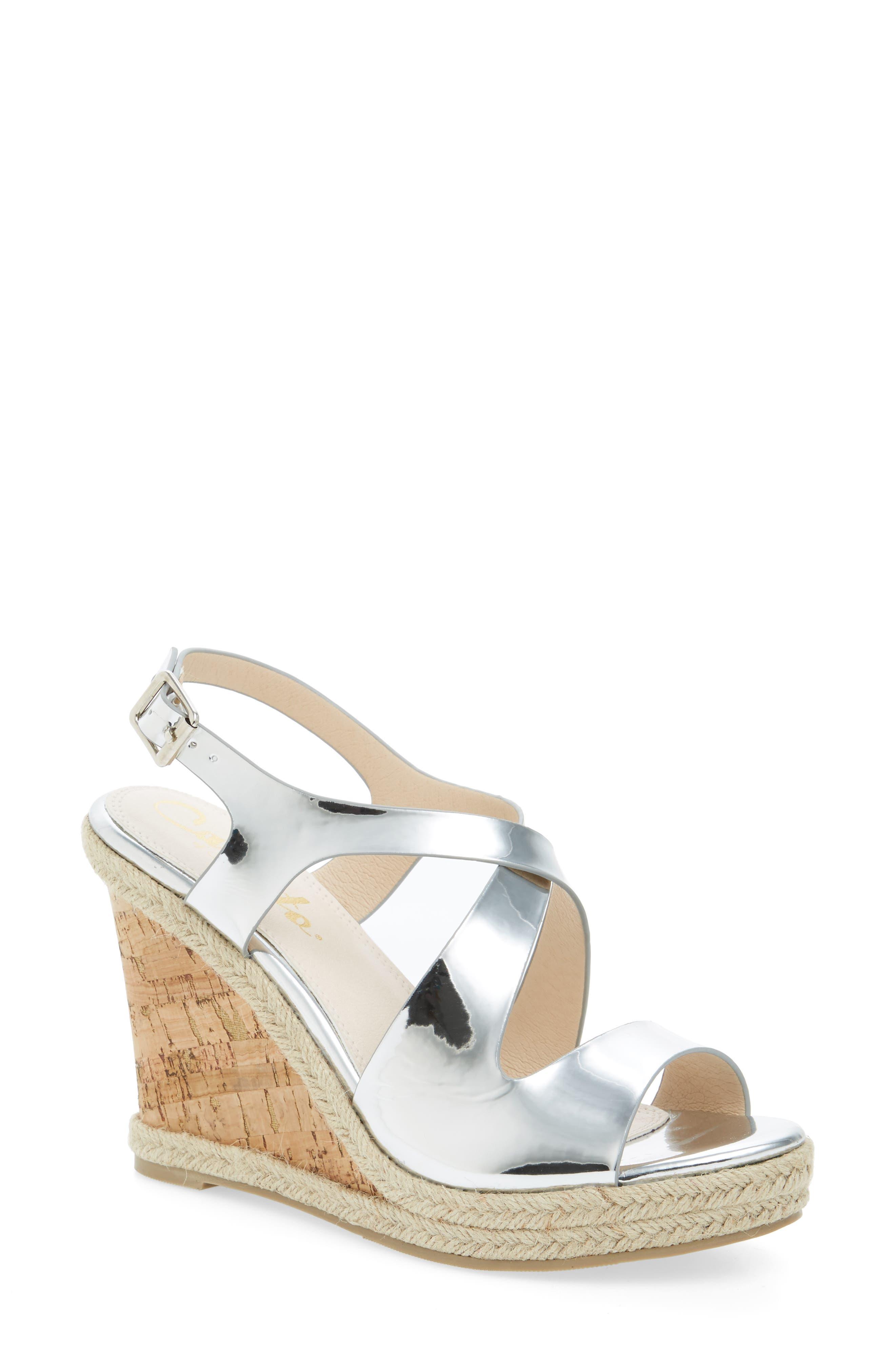 Brielle Wedge Sandal,                         Main,                         color, Silver Faux Patent