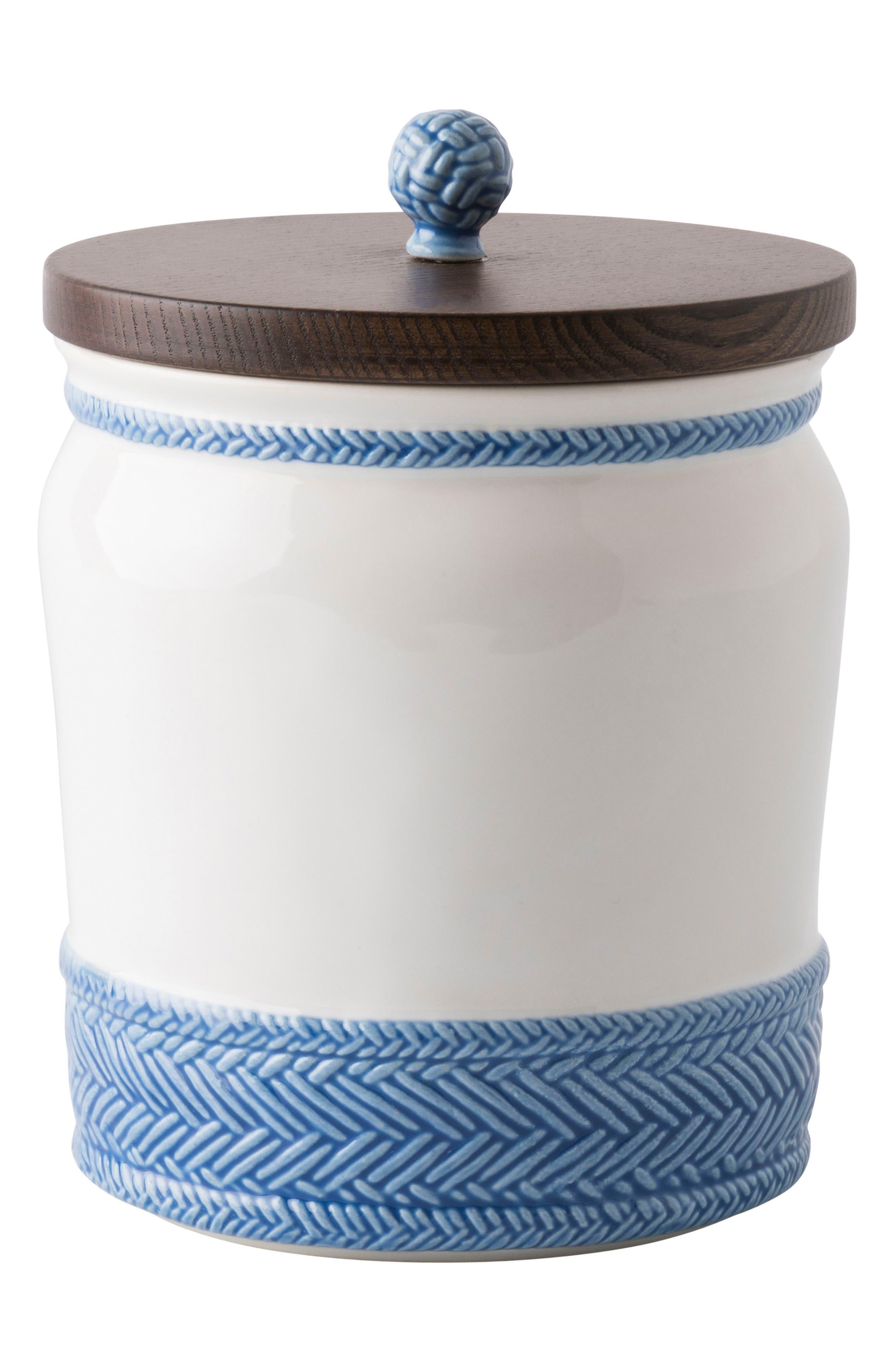 Le Panier Stoneware Canister,                             Main thumbnail 1, color,                             Whitewash/ Delft Blue