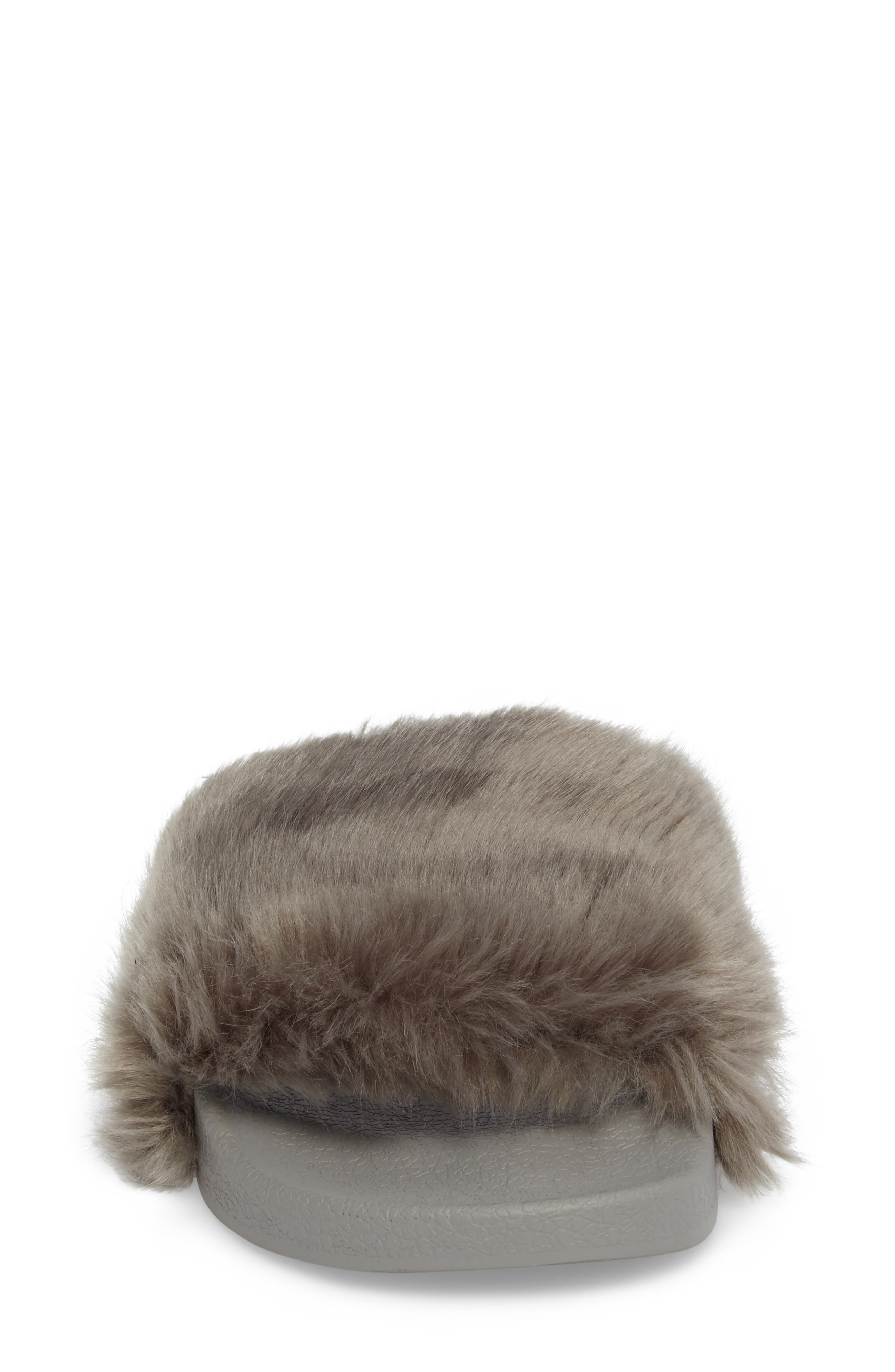 Vixen Slide Sandal,                             Alternate thumbnail 4, color,                             Grey Faux Fur
