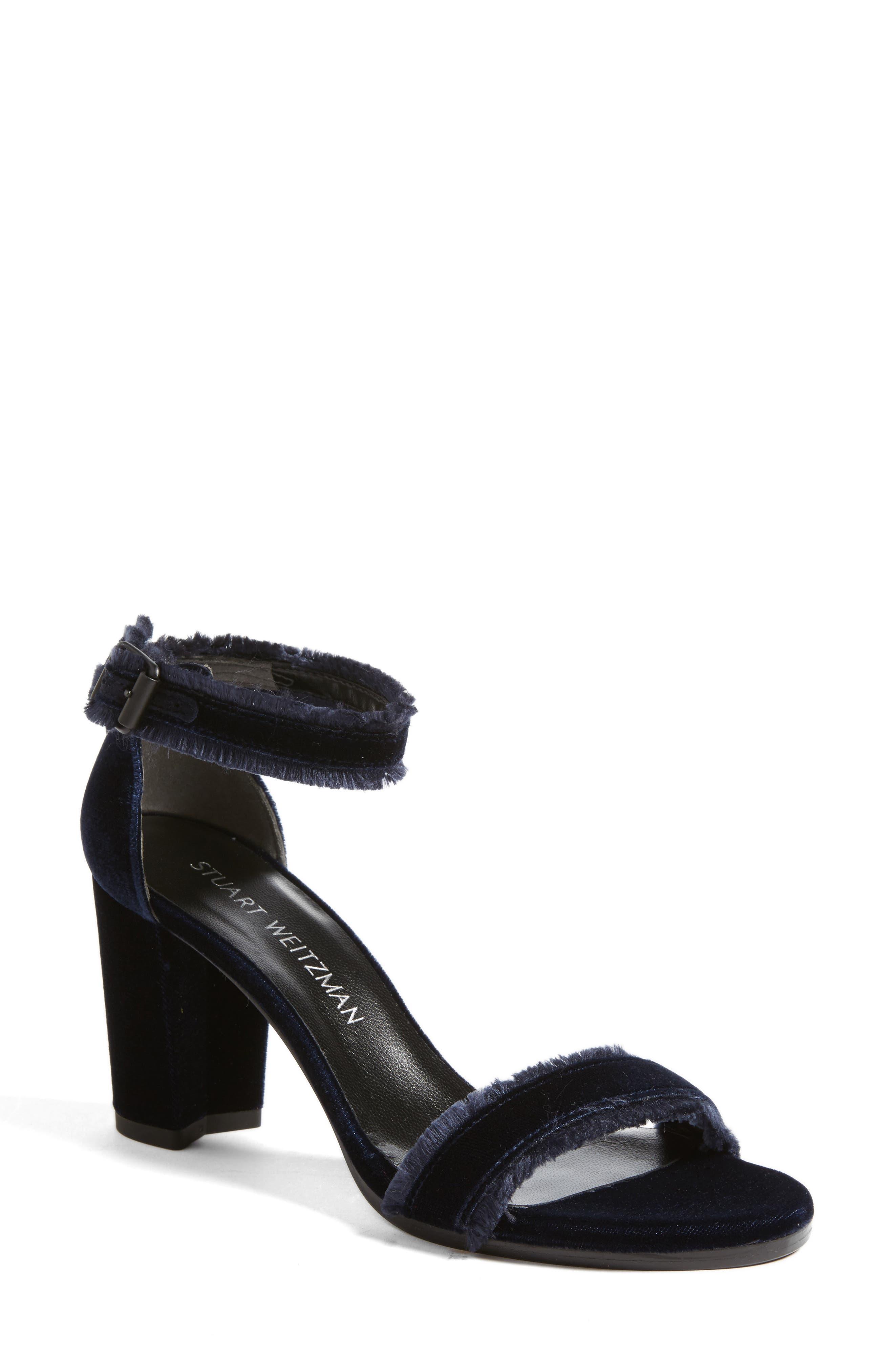 Frayed Ankle Strap Sandal,                         Main,                         color, Navy Velvet