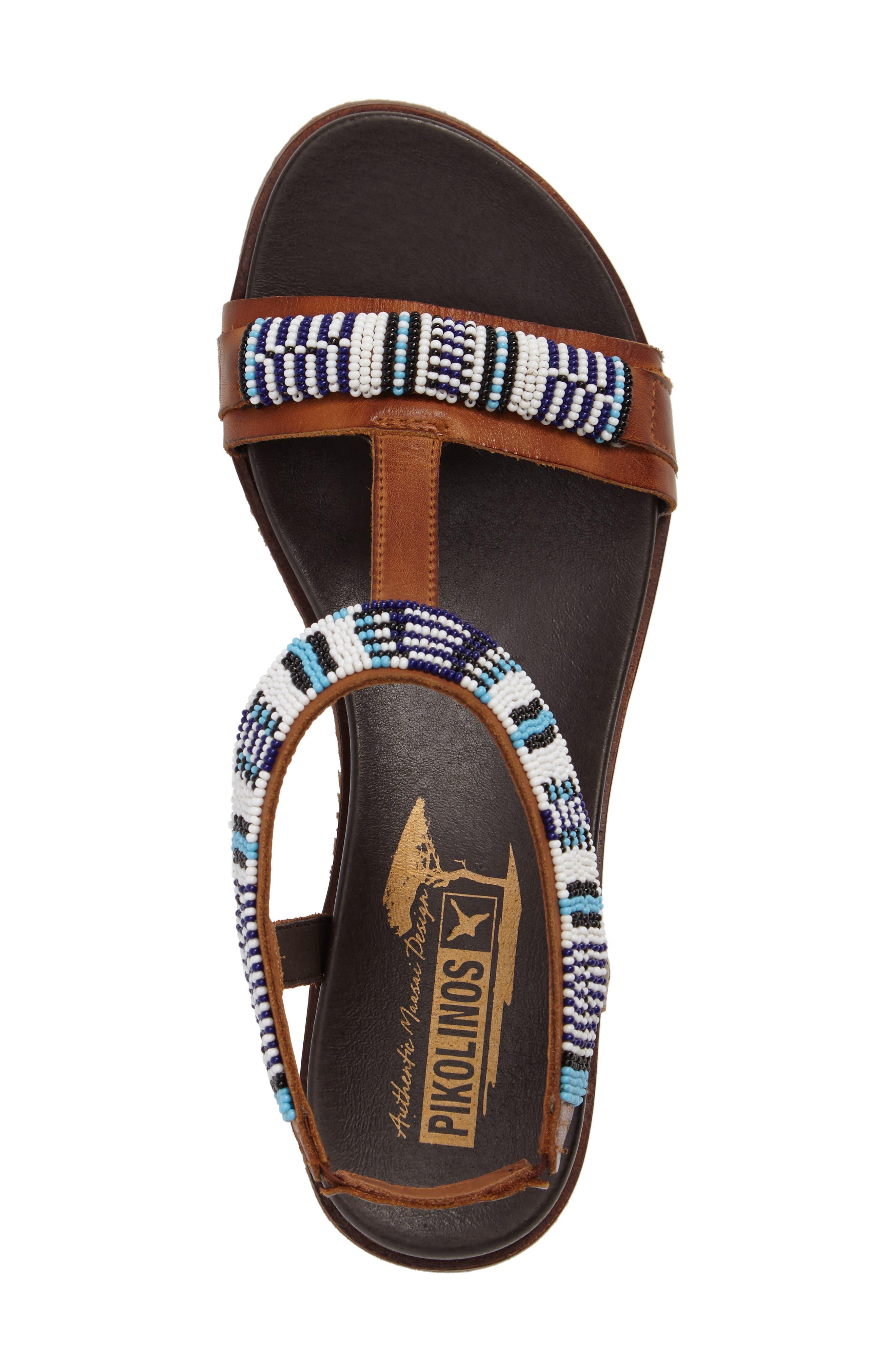 Antillas Beaded Sandal,                             Alternate thumbnail 6, color,                             Brandy Leather