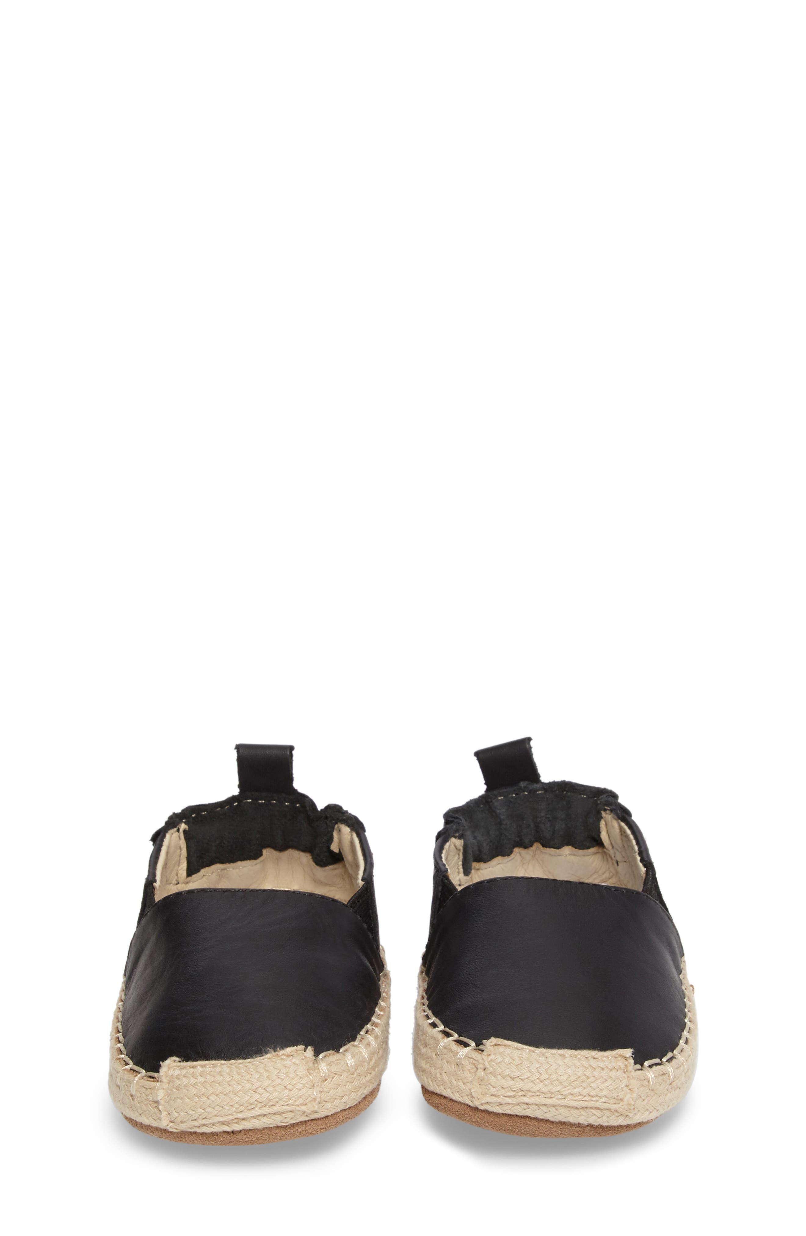Ellie Crib Shoe,                             Alternate thumbnail 4, color,                             Black Leather