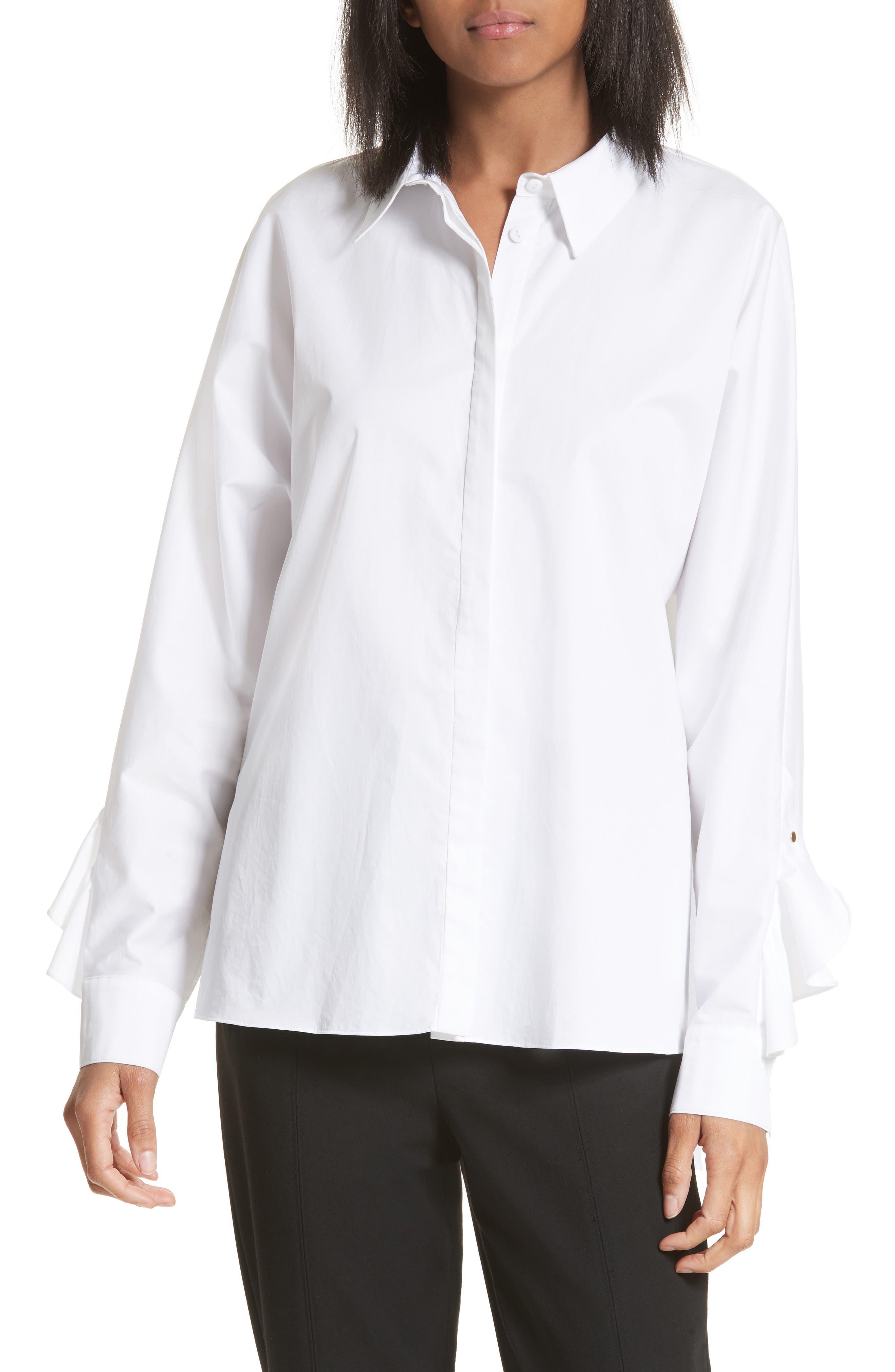 Tibi Dolman Sateen Poplin Shirt