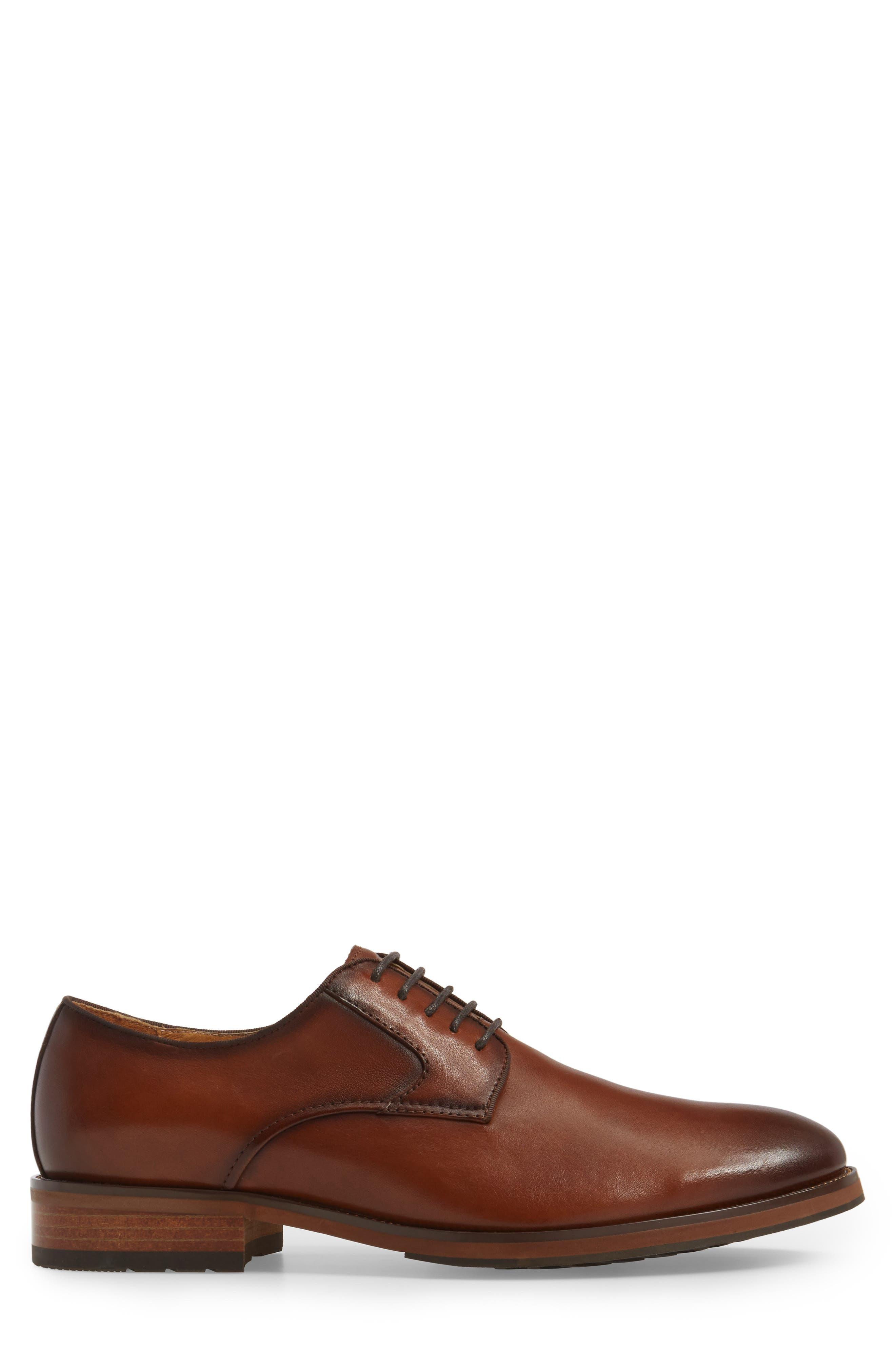 Blaze Plain Toe Derby,                             Alternate thumbnail 3, color,                             Cognac Leather
