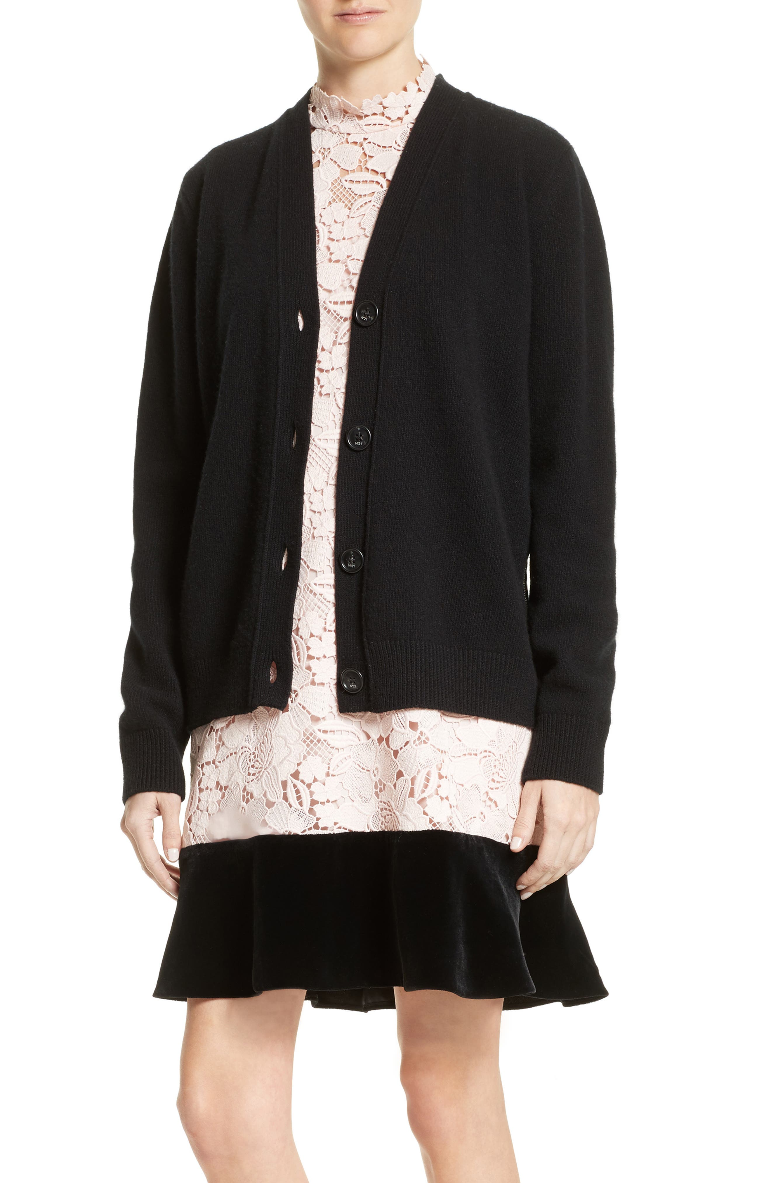 Lace Back Wool Blend Cardigan,                             Main thumbnail 1, color,                             Black
