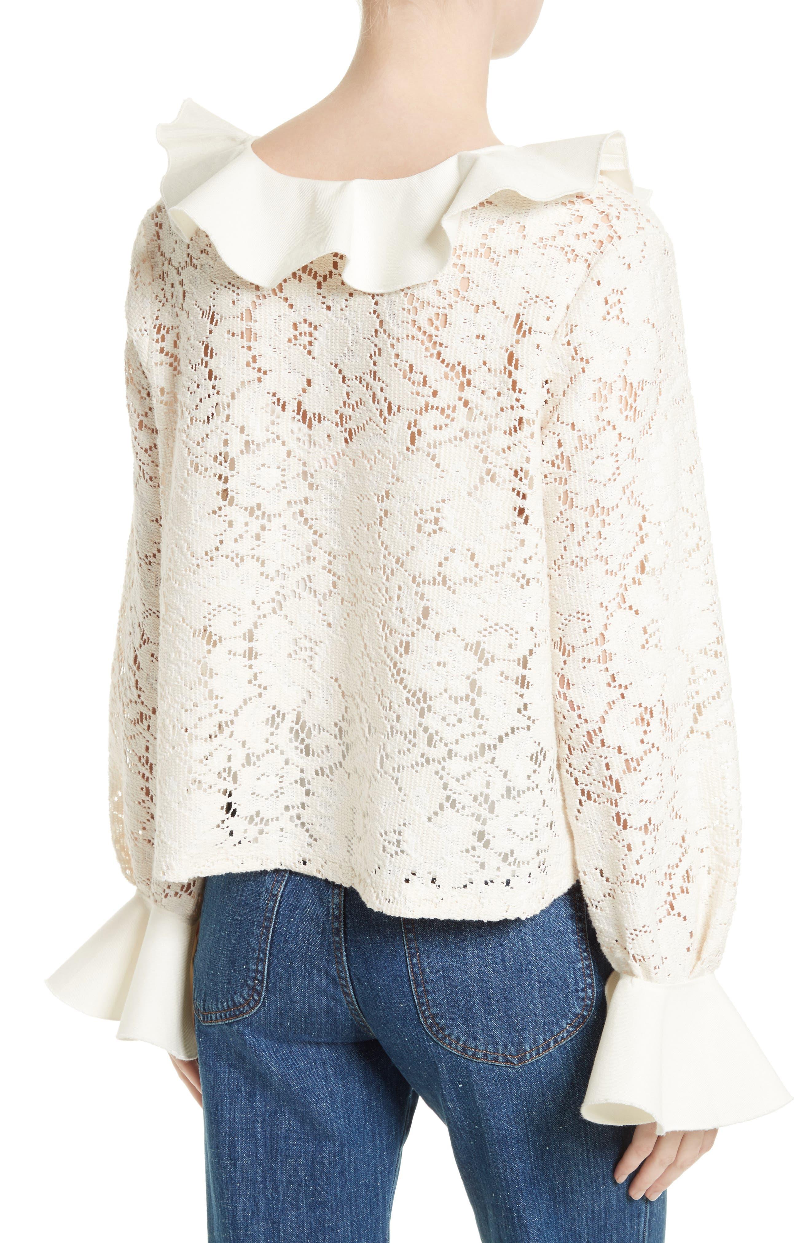 Ruffle Lace Blouse,                             Alternate thumbnail 2, color,                             Natural White