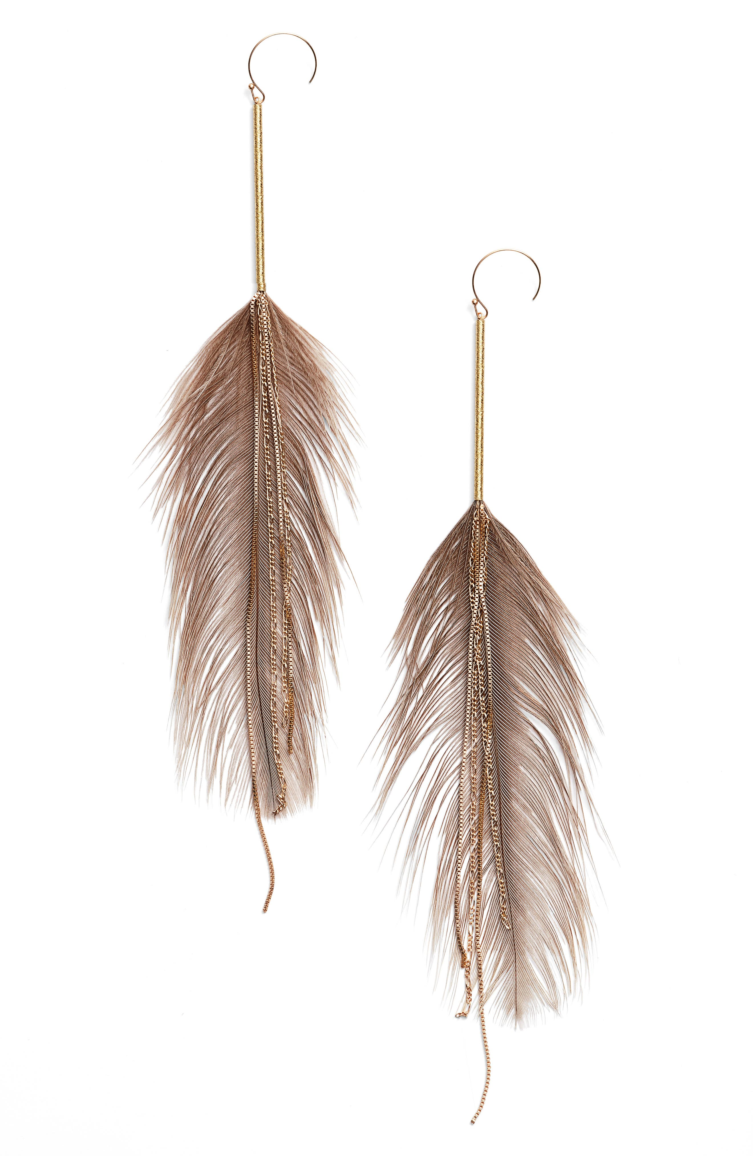 SEREFINA Rhea Feather Drop Earrings