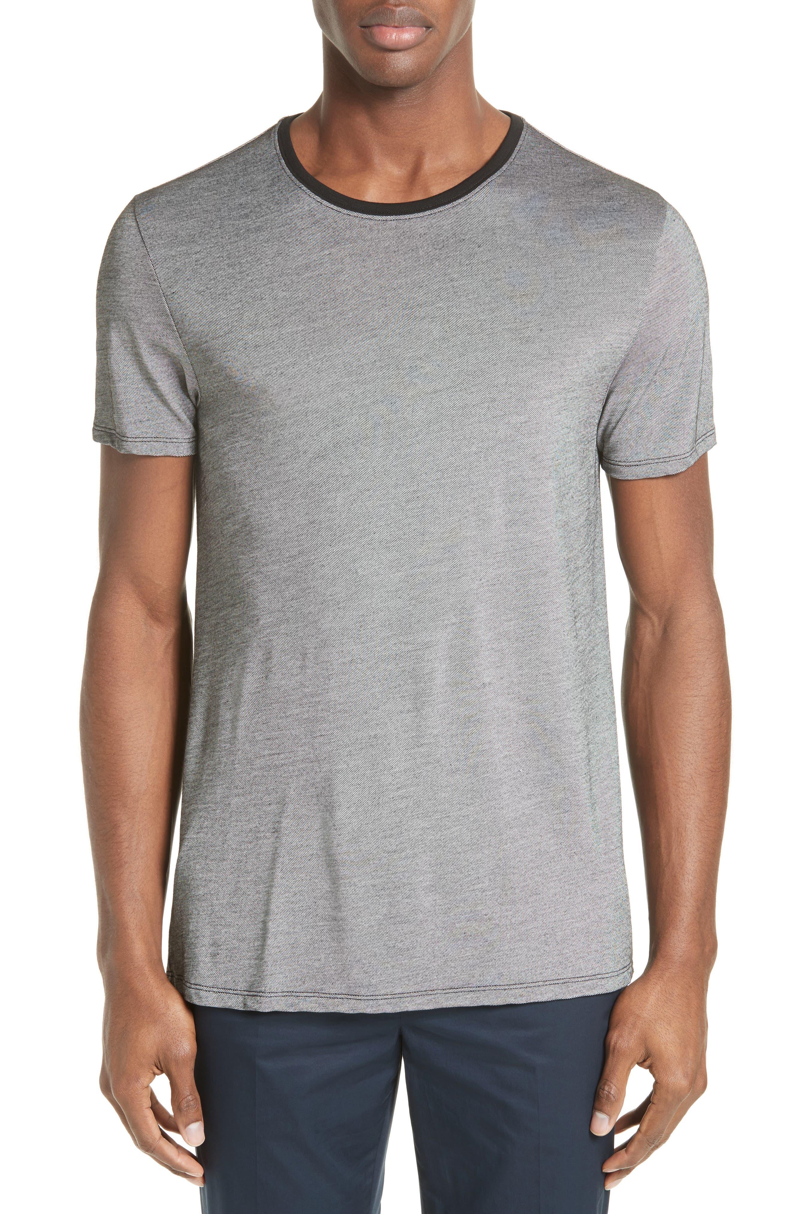 Contrast Crewneck T-Shirt,                         Main,                         color, Grey
