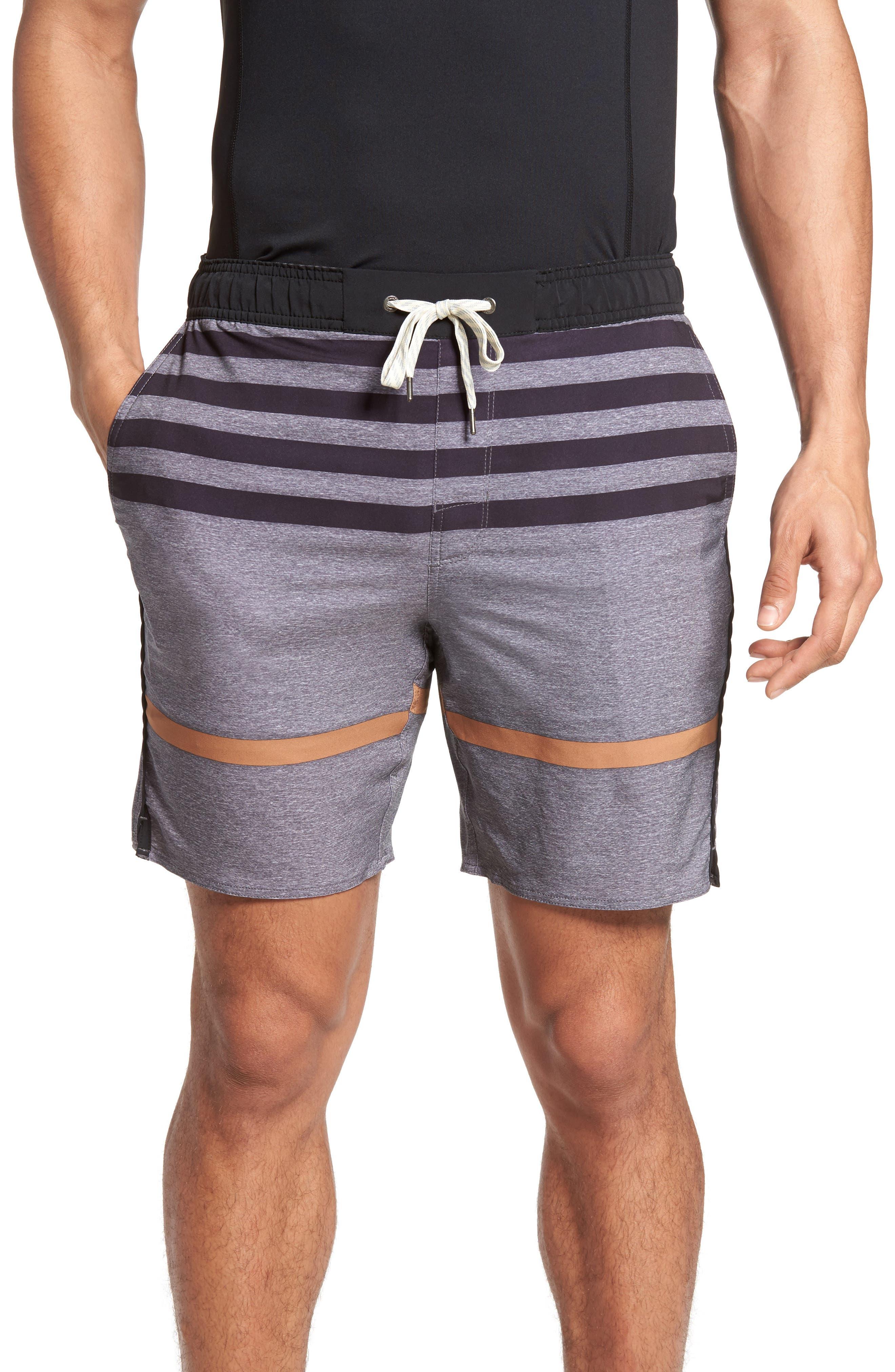 Trail Runner Shorts,                         Main,                         color, Grey Acorn Stripe