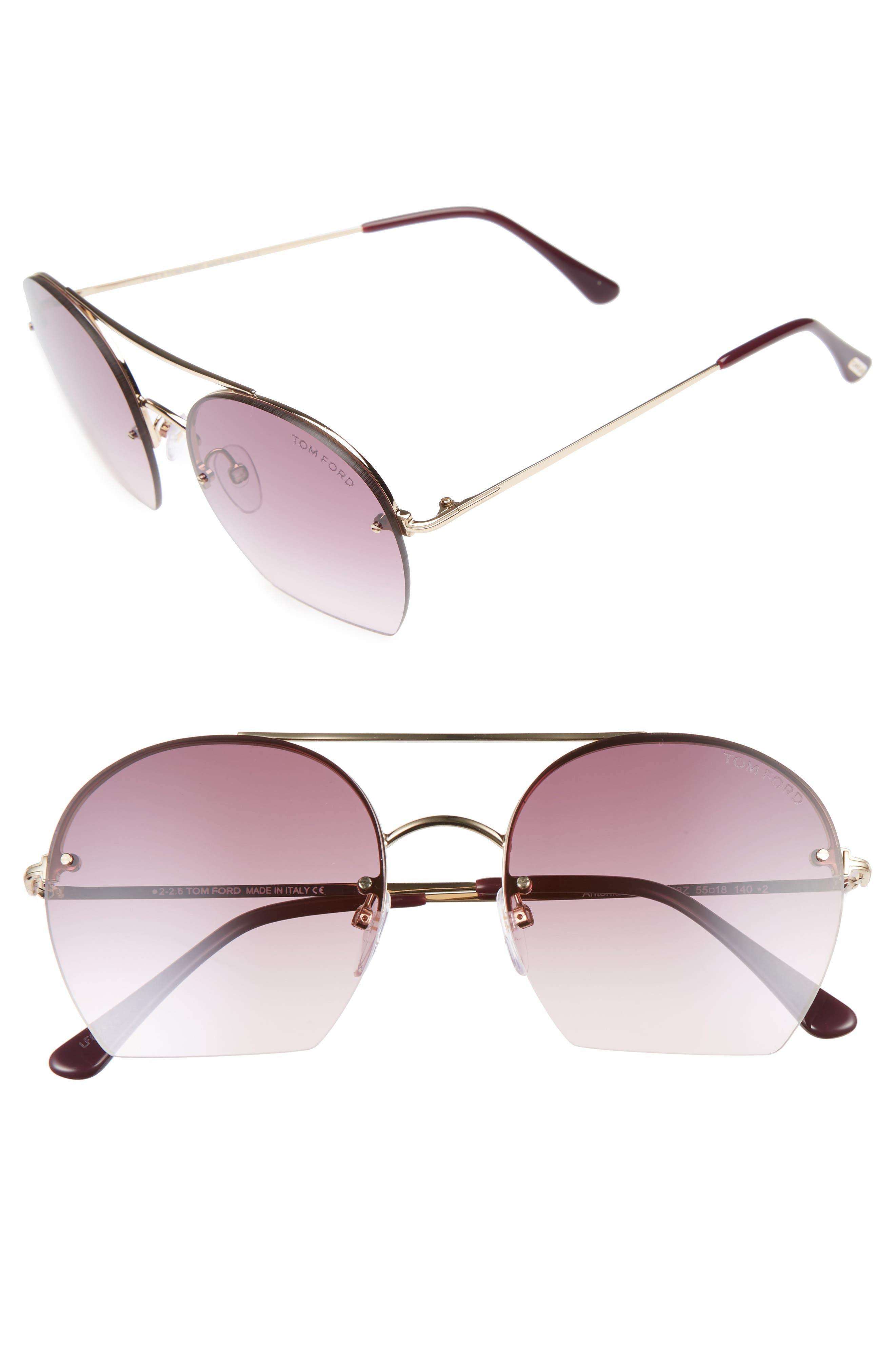 Antonia 55mm Gradient Lens Aviator Sunglasses,                         Main,                         color, Rose Gold/ Plum/ Gradient Pink