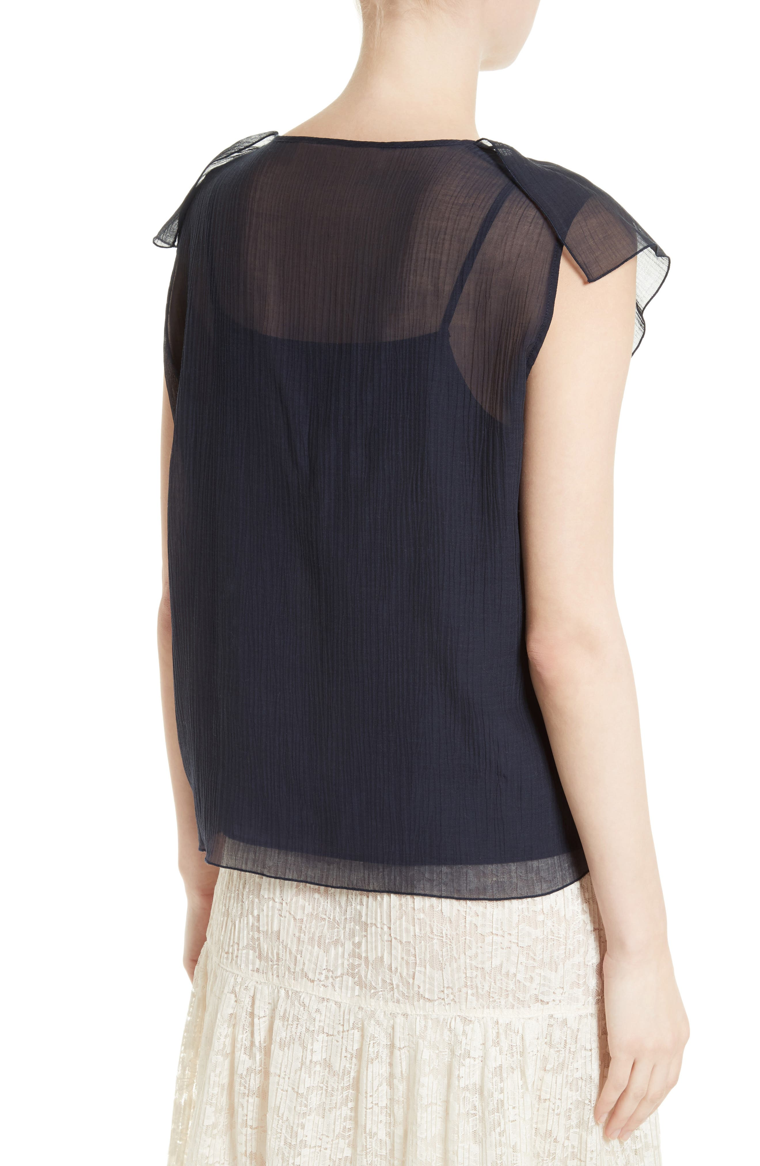 Alternate Image 3  - See by Chloé Cotton & Silk Ruffle Top