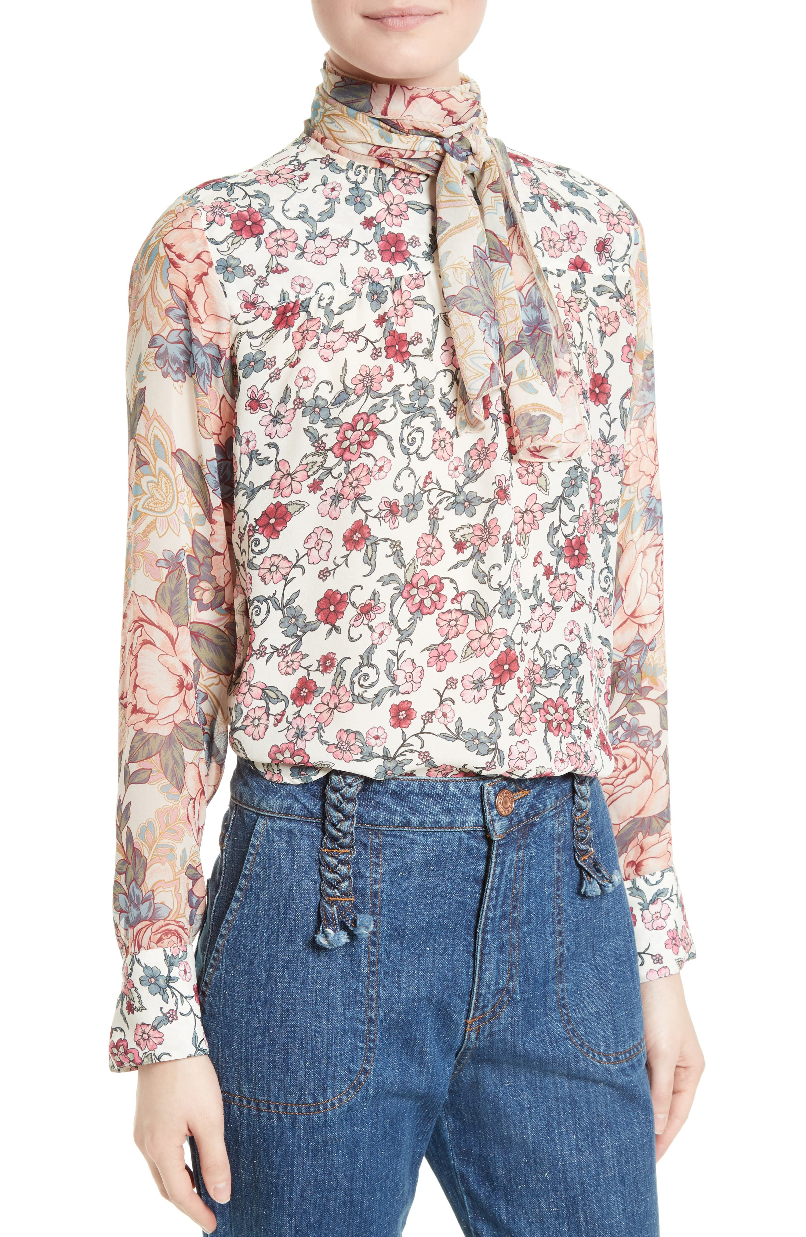 Alternate Image 4  - See by Chloé Floral Tie Neck Blouse