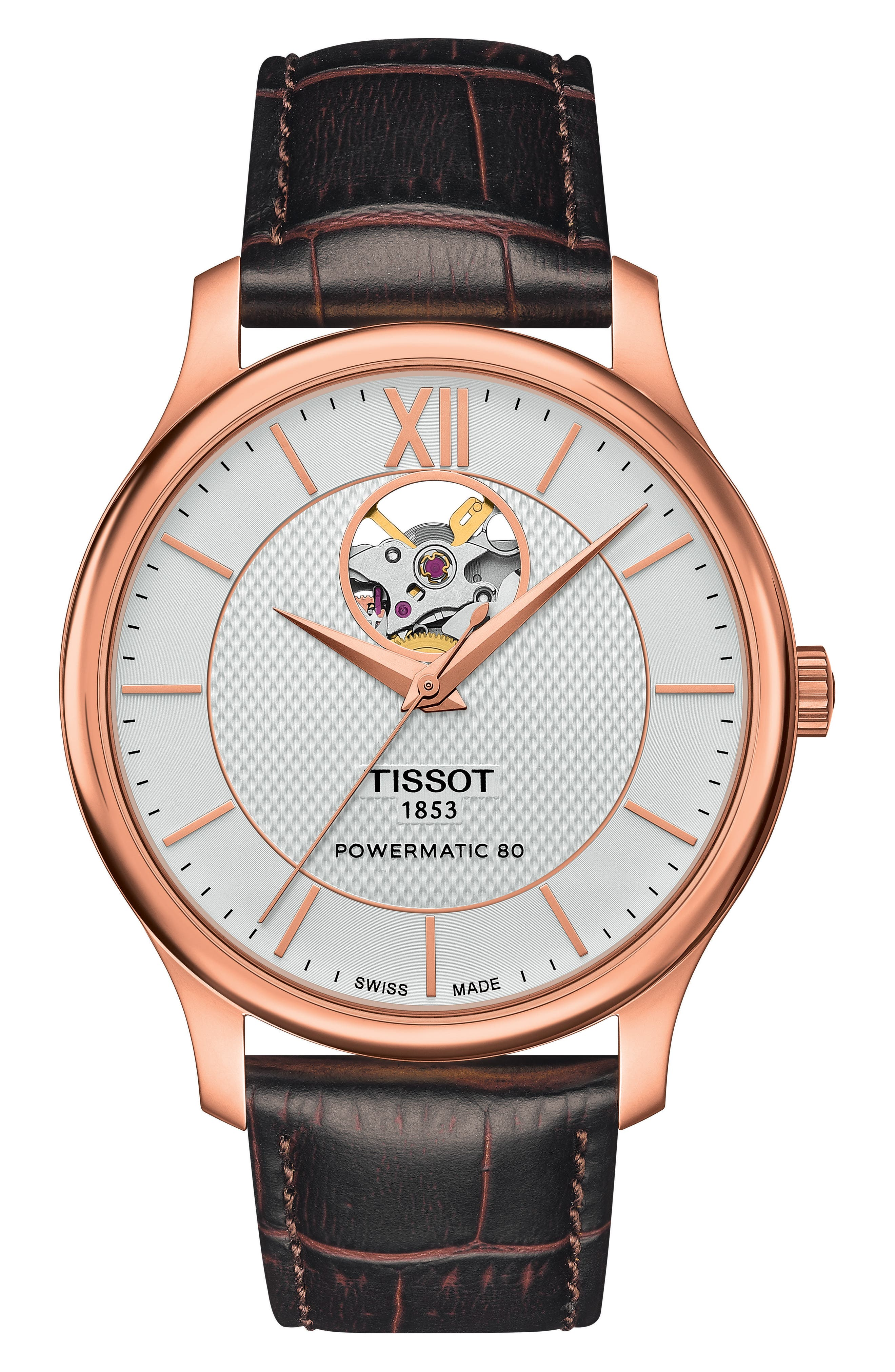 Tradition Leather Strap Watch, 40mm,                         Main,                         color, Brown/ Rose Gold