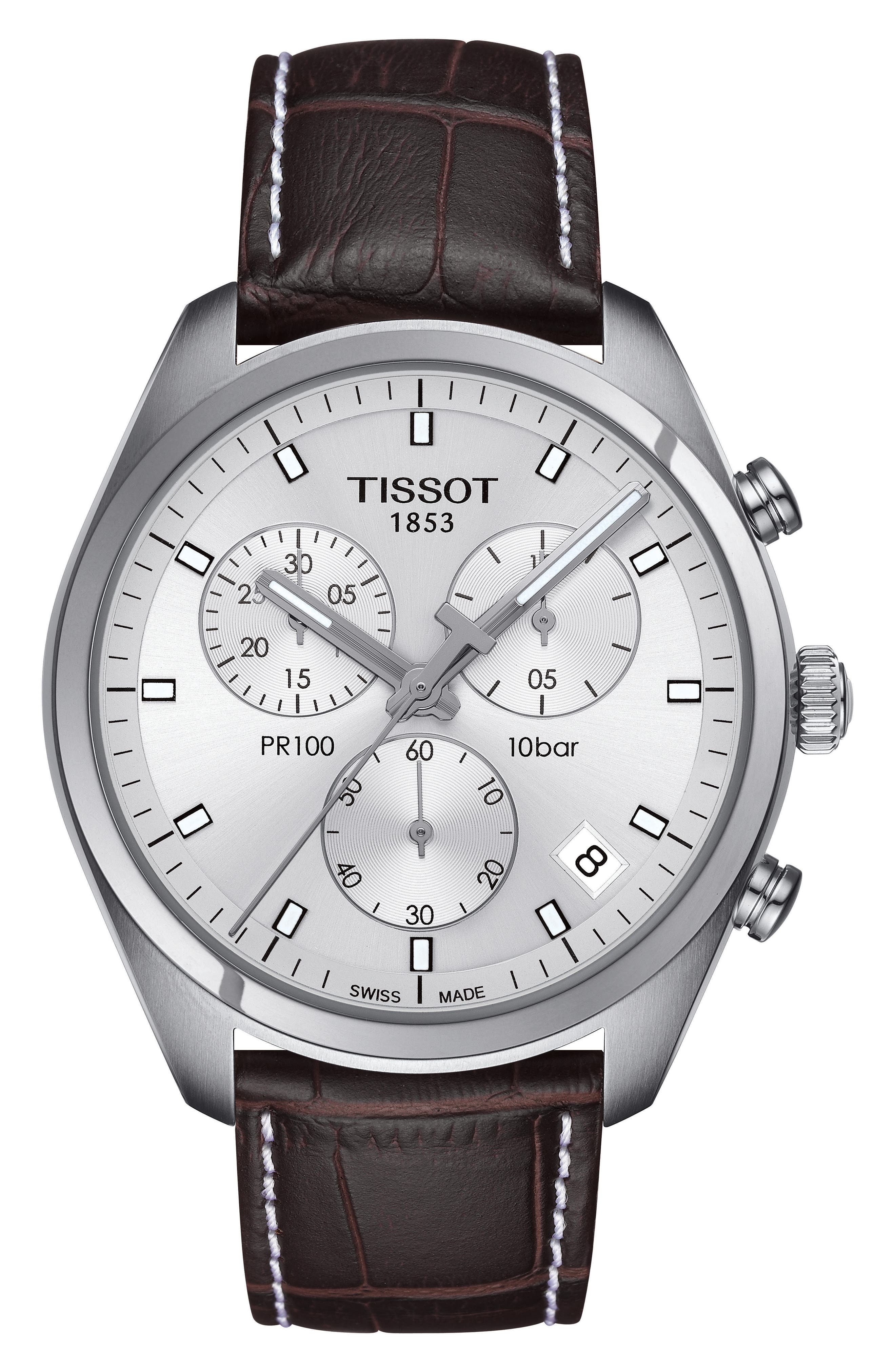 PR100 Chronograph Leather Strap Watch, 41mm,                         Main,                         color, Brown/ Silver