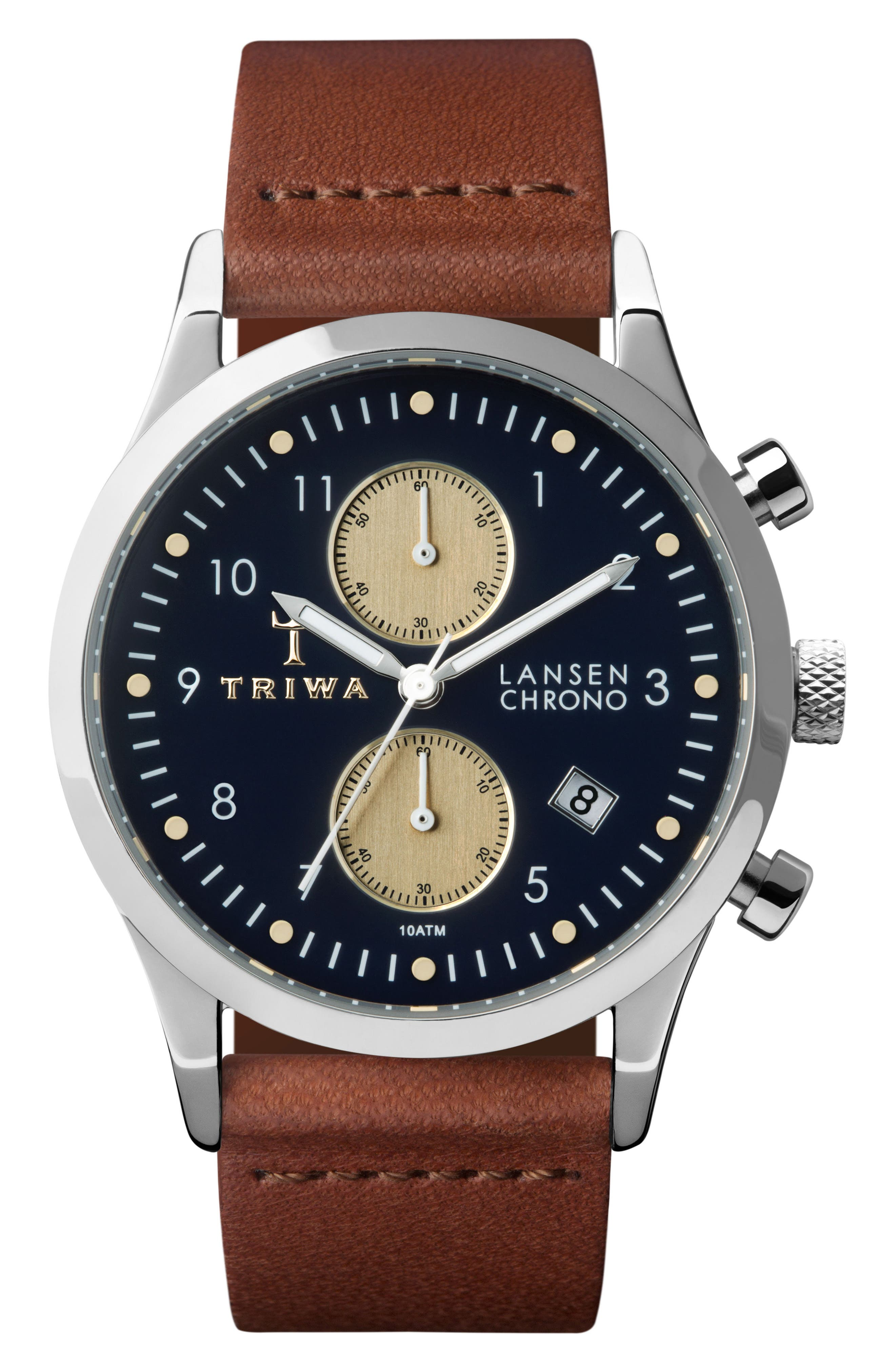 Pacific Lansen Chronograph Leather Strap Watch, 38mm,                         Main,                         color, Brown/ Navy/ Silver