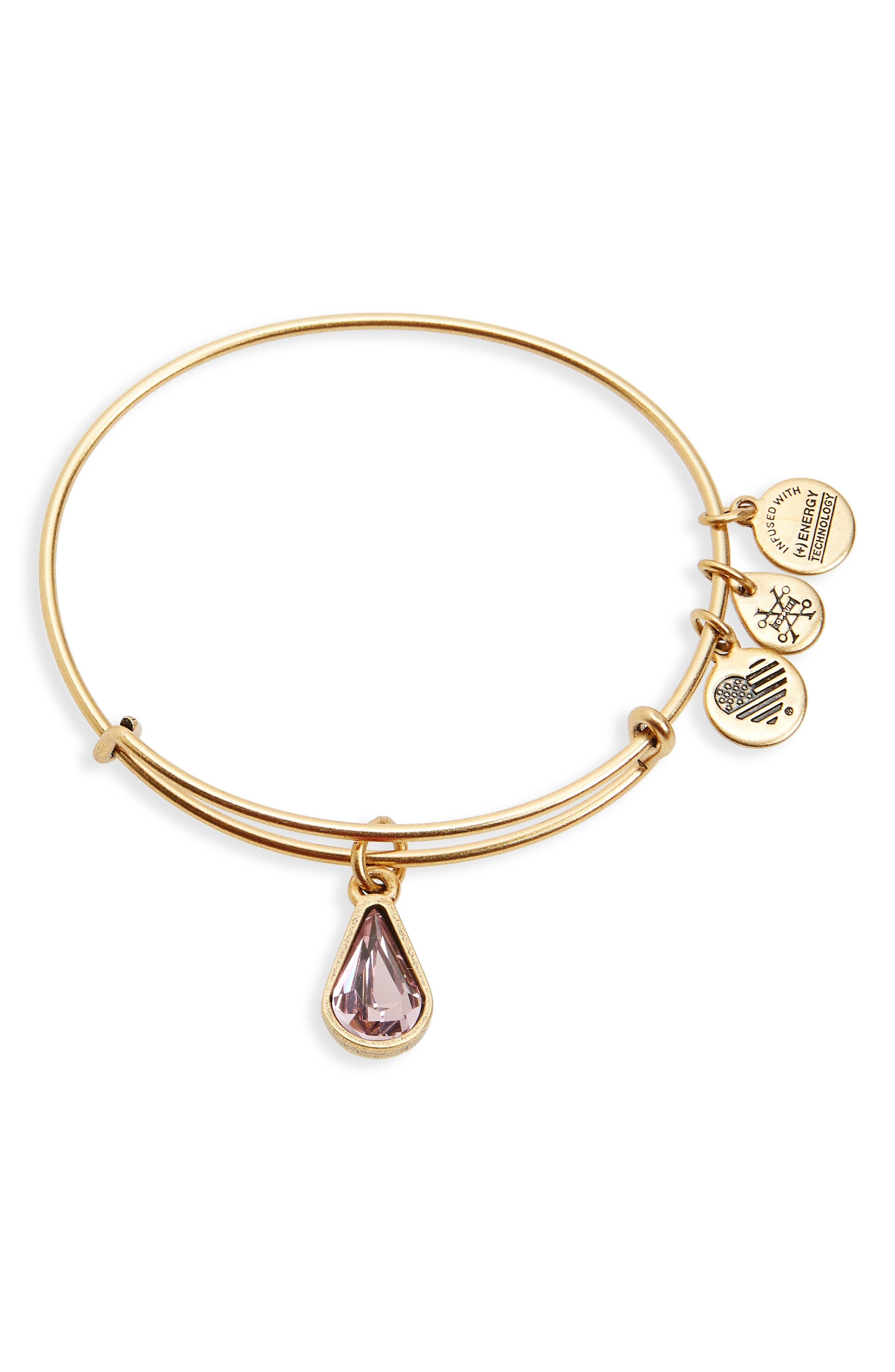 Alex and Ani Birthstone Expandable Wire Bangle with Swarovski Crystal