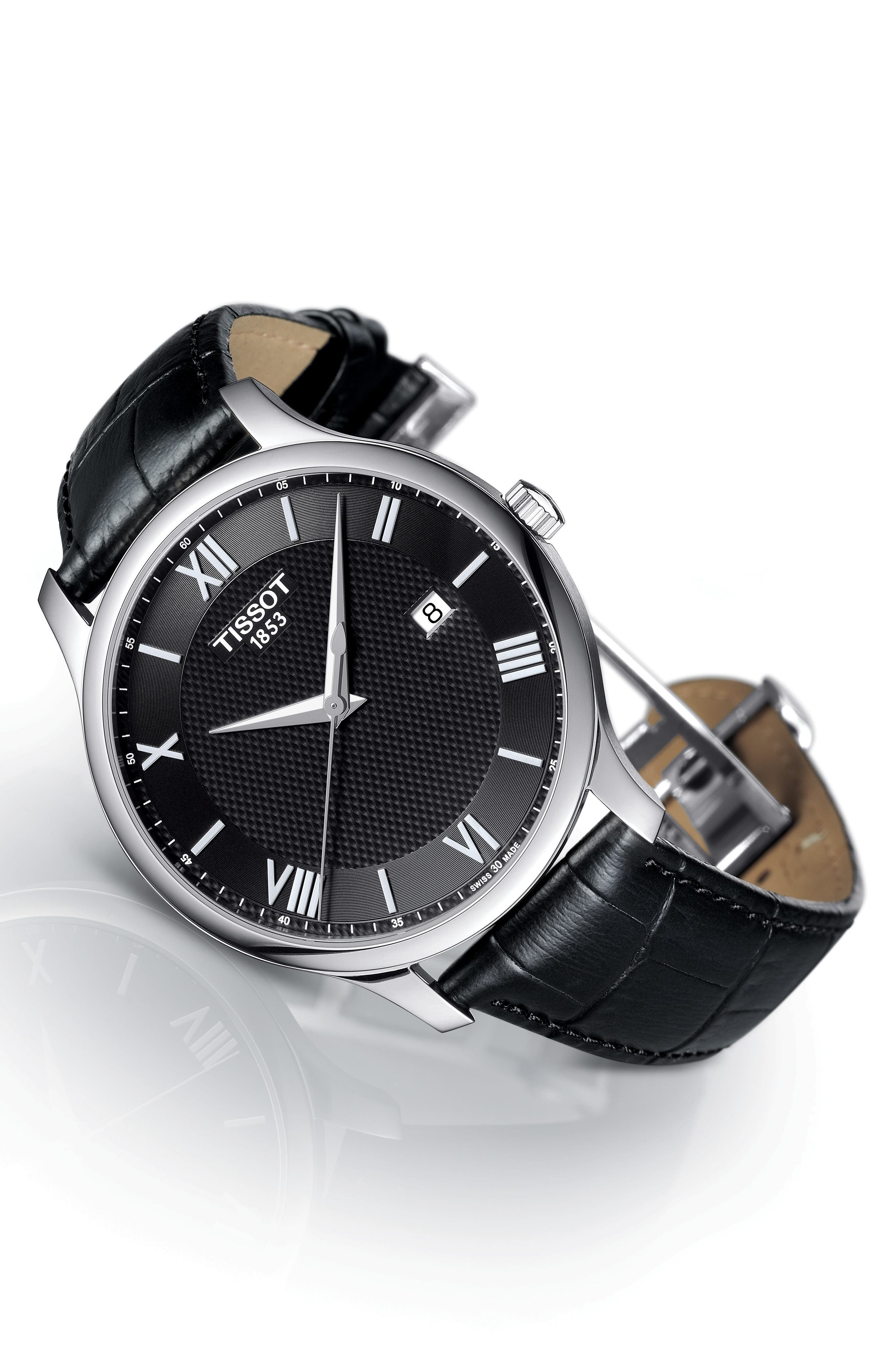 Alternate Image 2  - Tissot Tradition Leather Strap Watch, 42mm