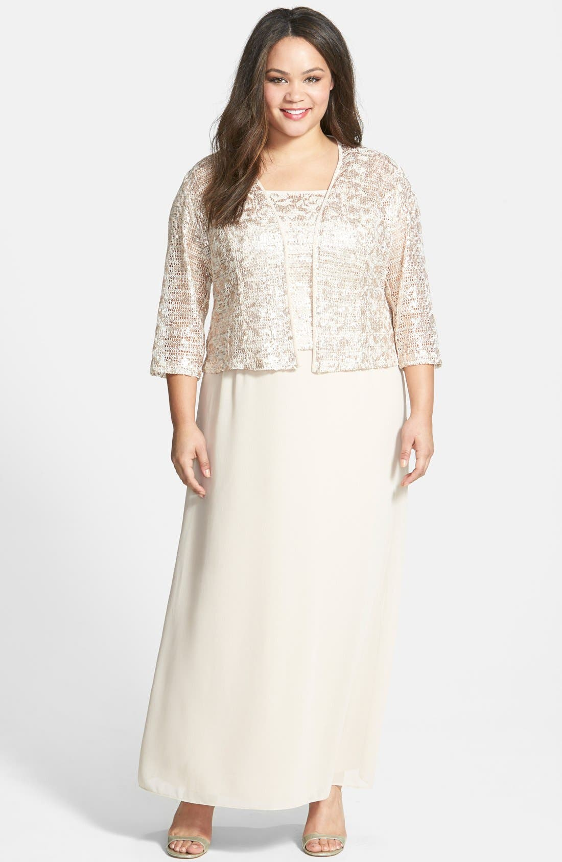 Alex Evenings Sequined Lace Amp Georgette Long Dress With