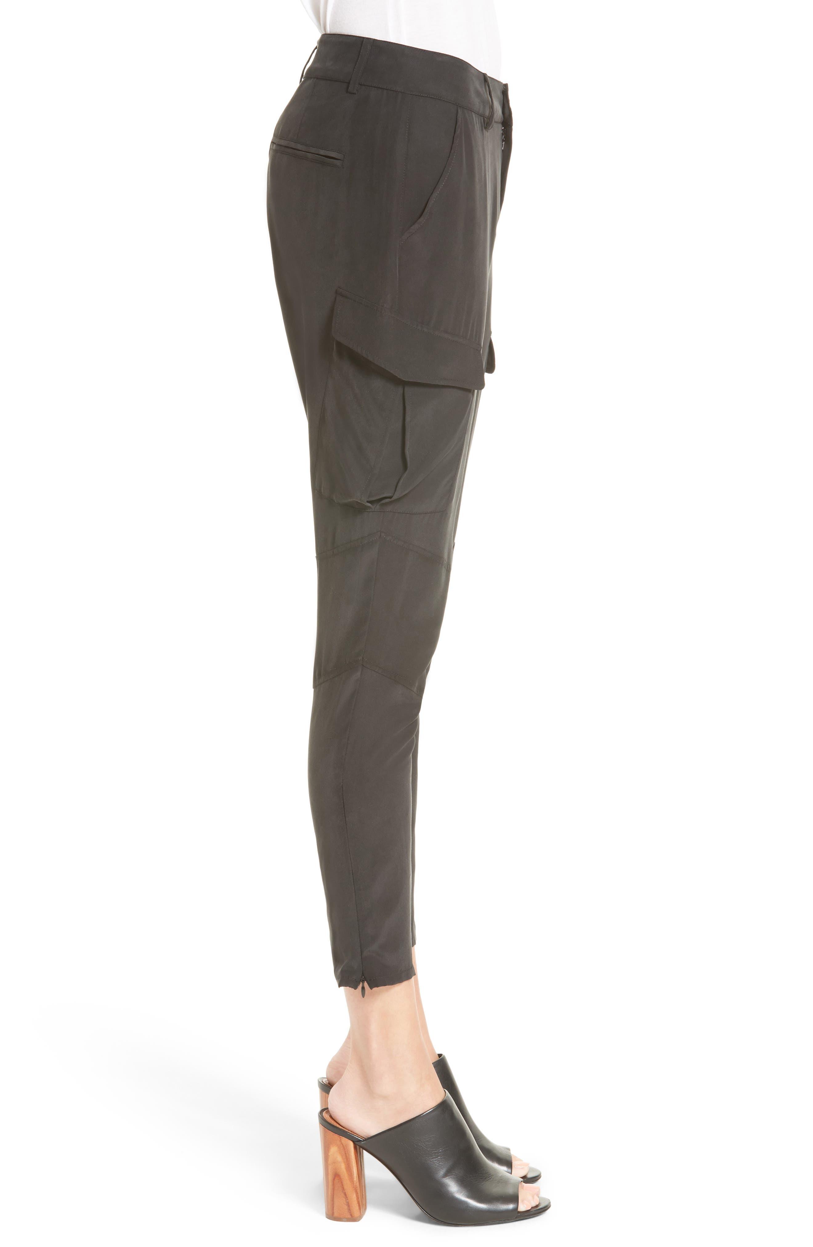 Bevin Silk Crop Cargo Pants,                             Alternate thumbnail 3, color,                             Black