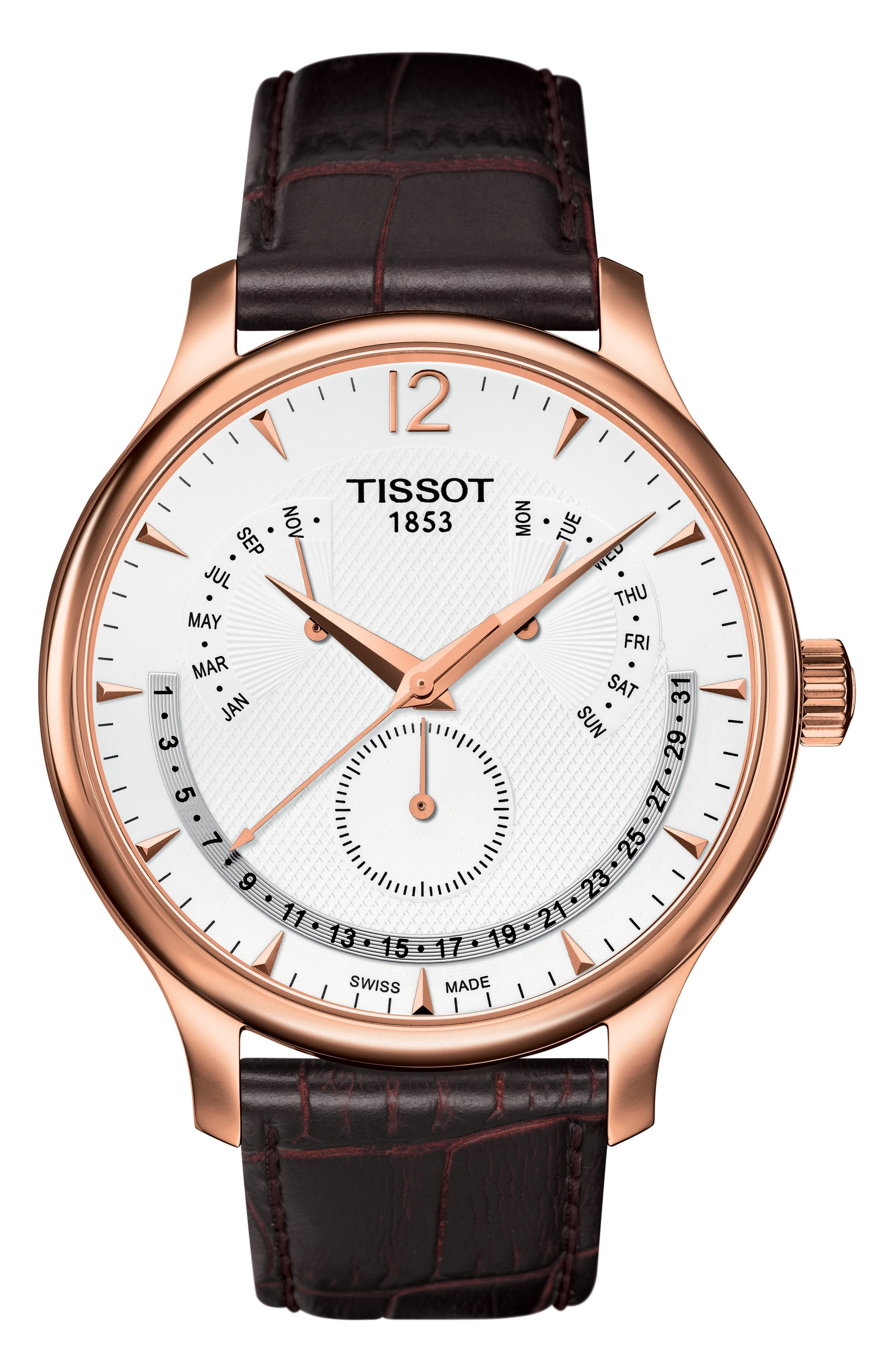 TRADITION CALENDAR LEATHER STRAP WATCH, 42MM