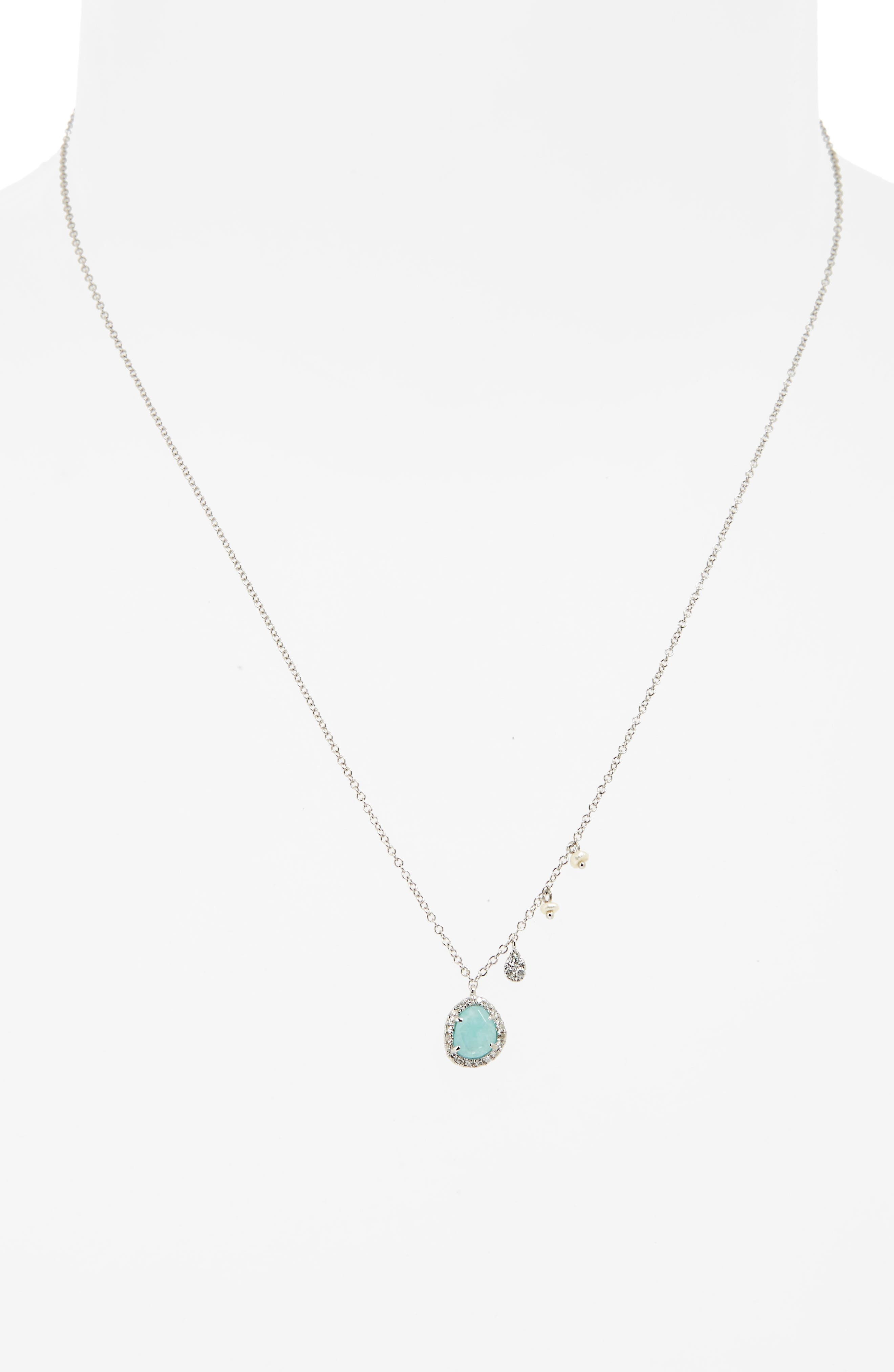 Alternate Image 2  - Meira T Mini Stone Diamond Pendant Necklace
