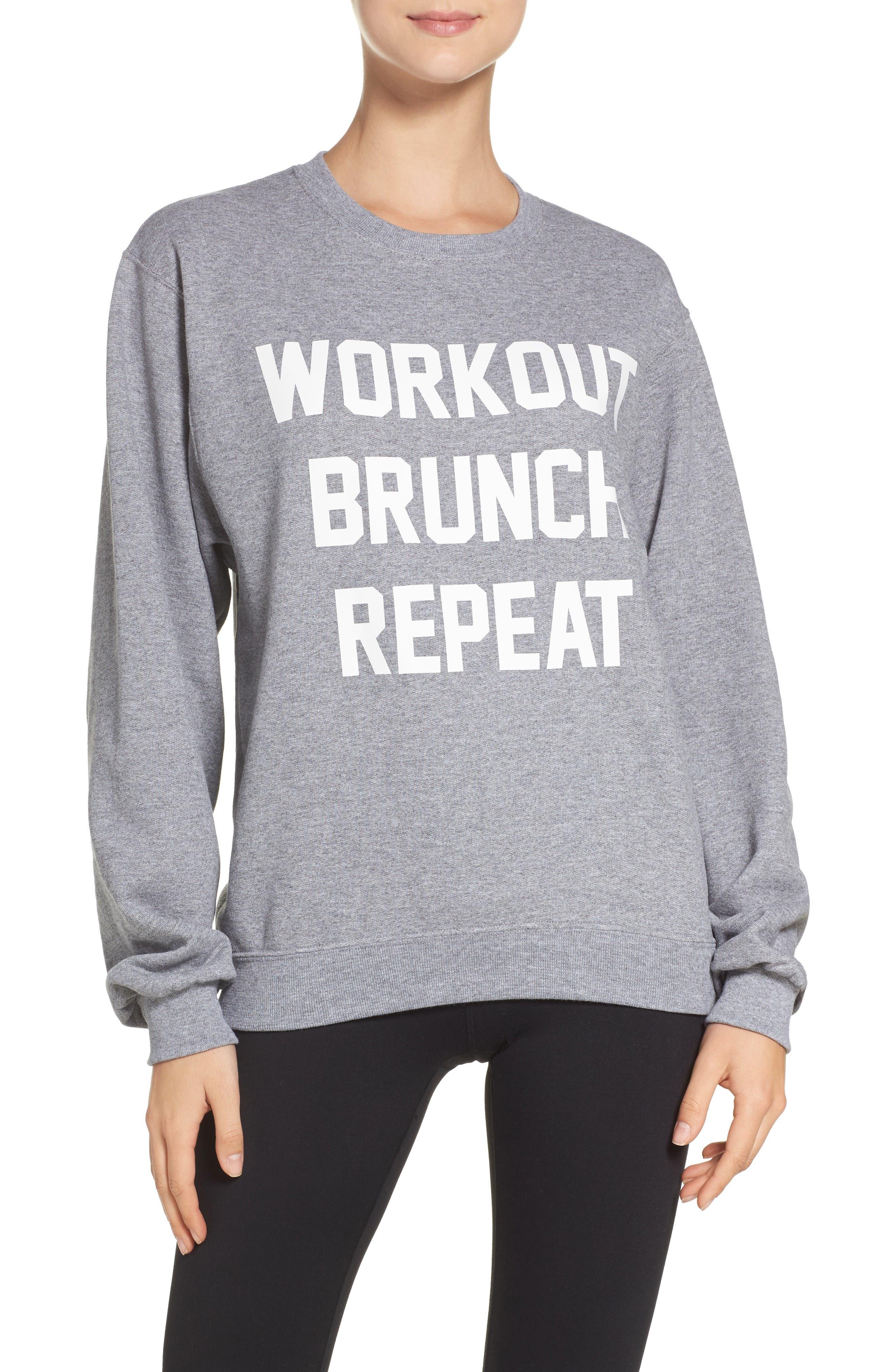 Workout Brunch Repeat Sweatshirt,                             Main thumbnail 1, color,                             Grey
