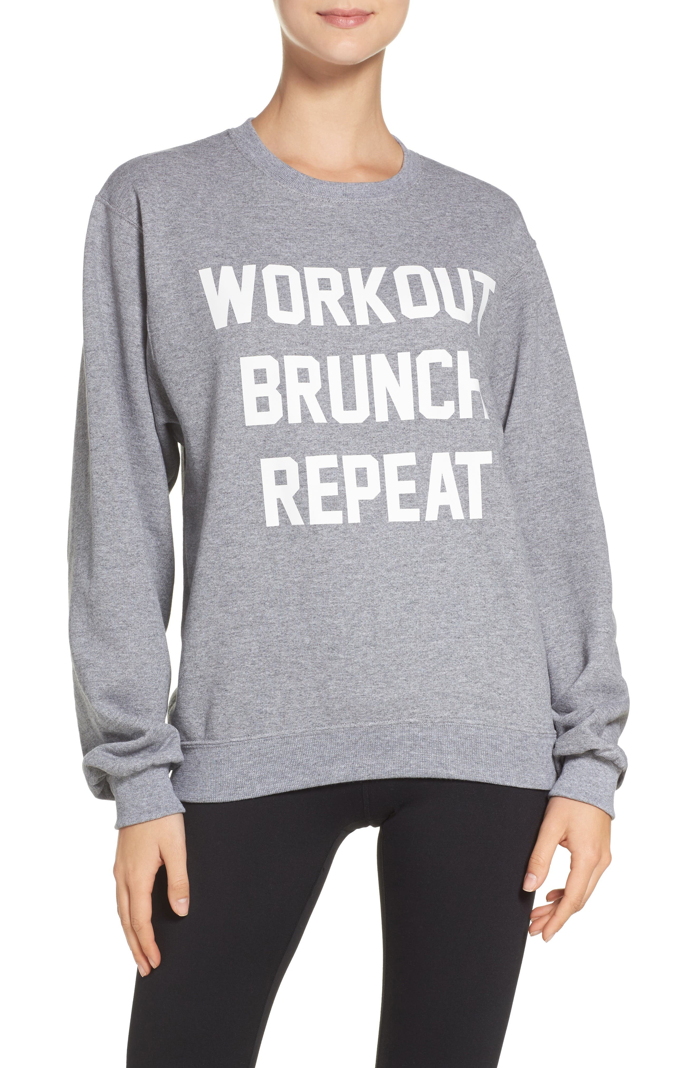 Workout Brunch Repeat Sweatshirt,                         Main,                         color, Grey