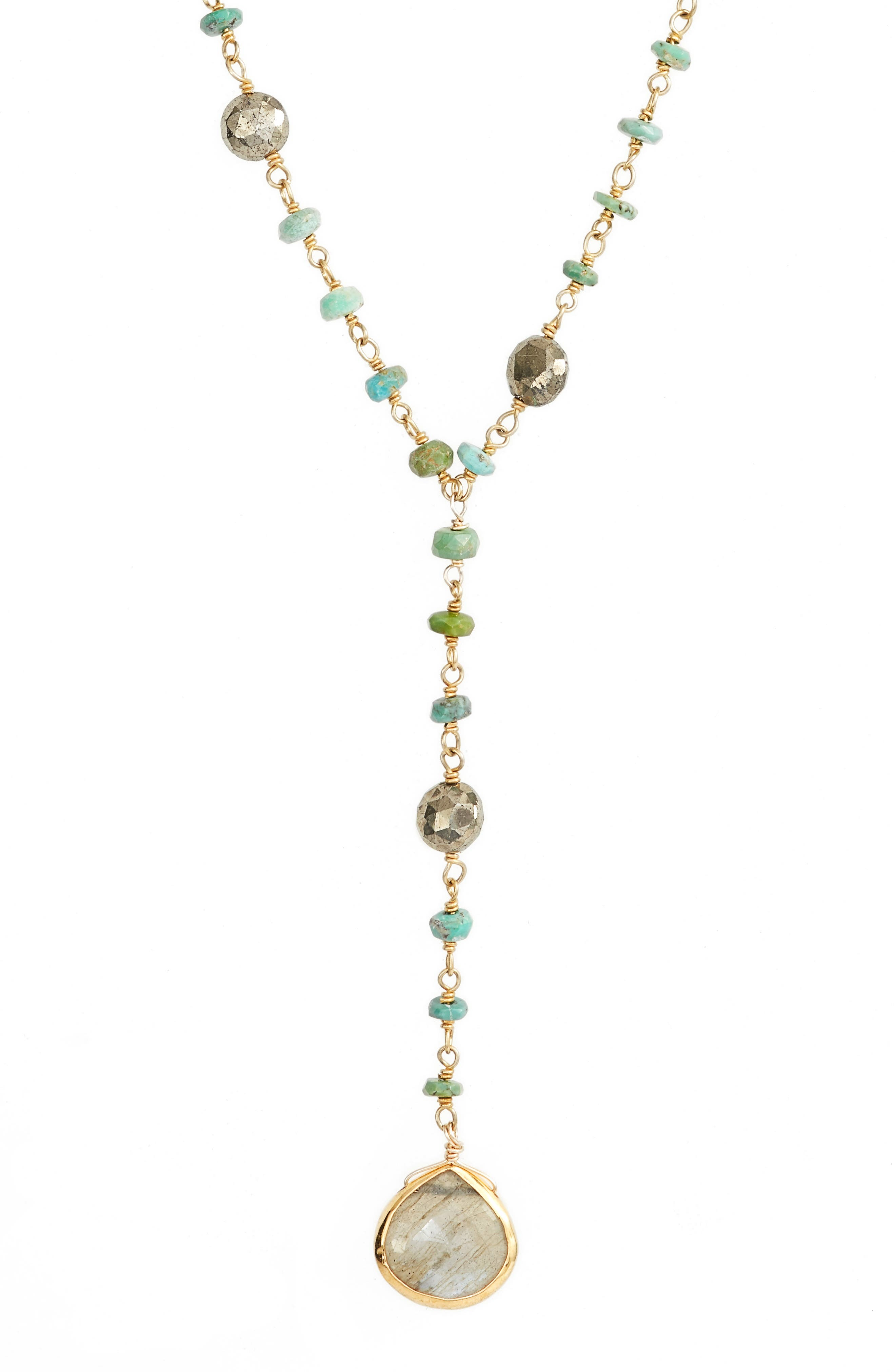 Yaeli Satellite 24 Semiprecious Stone Y-Necklace,                             Alternate thumbnail 2, color,                             Turquoise / Labradorite