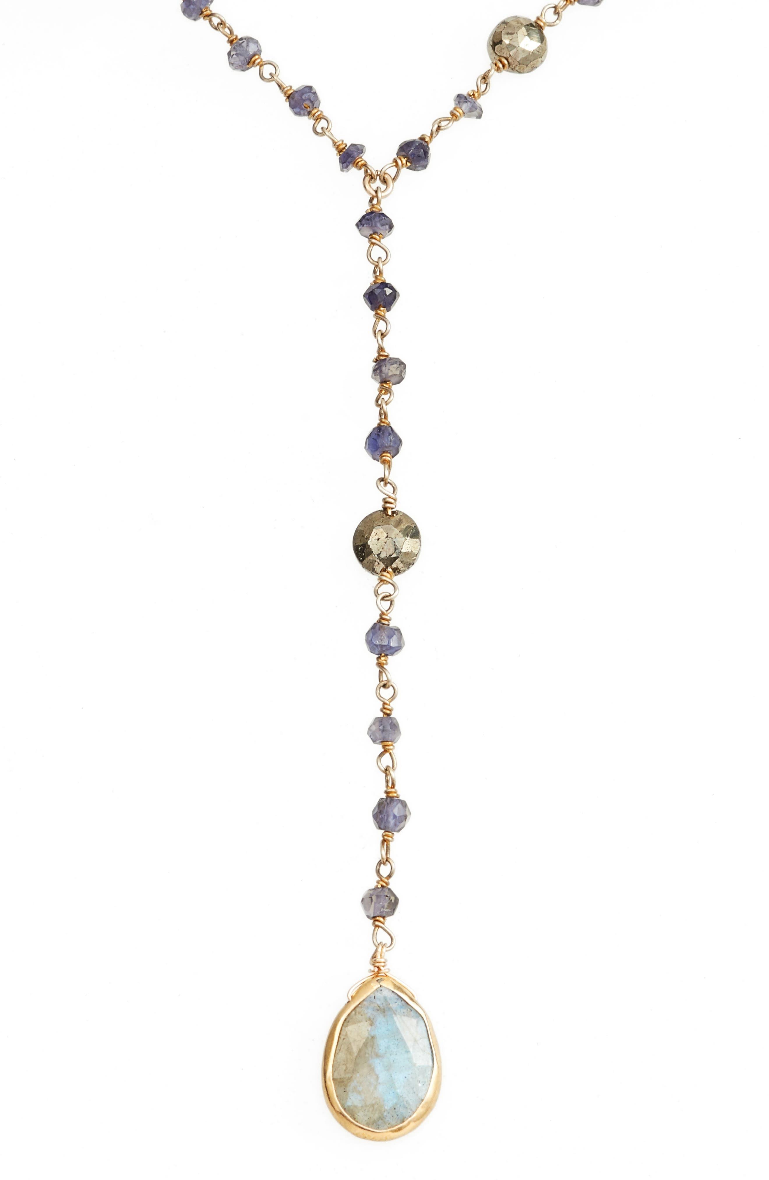 Yaeli Midi Satellite Semiprecious Stone Y-Necklace,                             Alternate thumbnail 2, color,                             Iolite / Pyrite