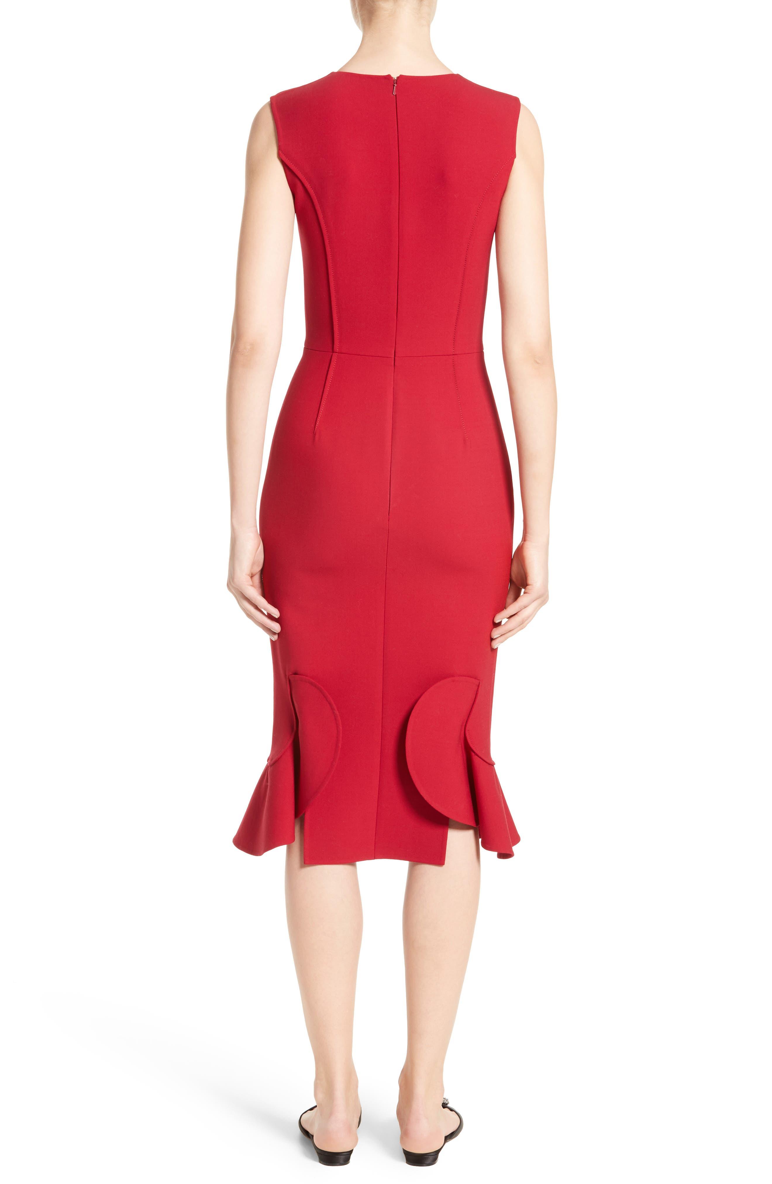 Stretch Crepe Sheath Dress,                             Alternate thumbnail 2, color,                             Garnet