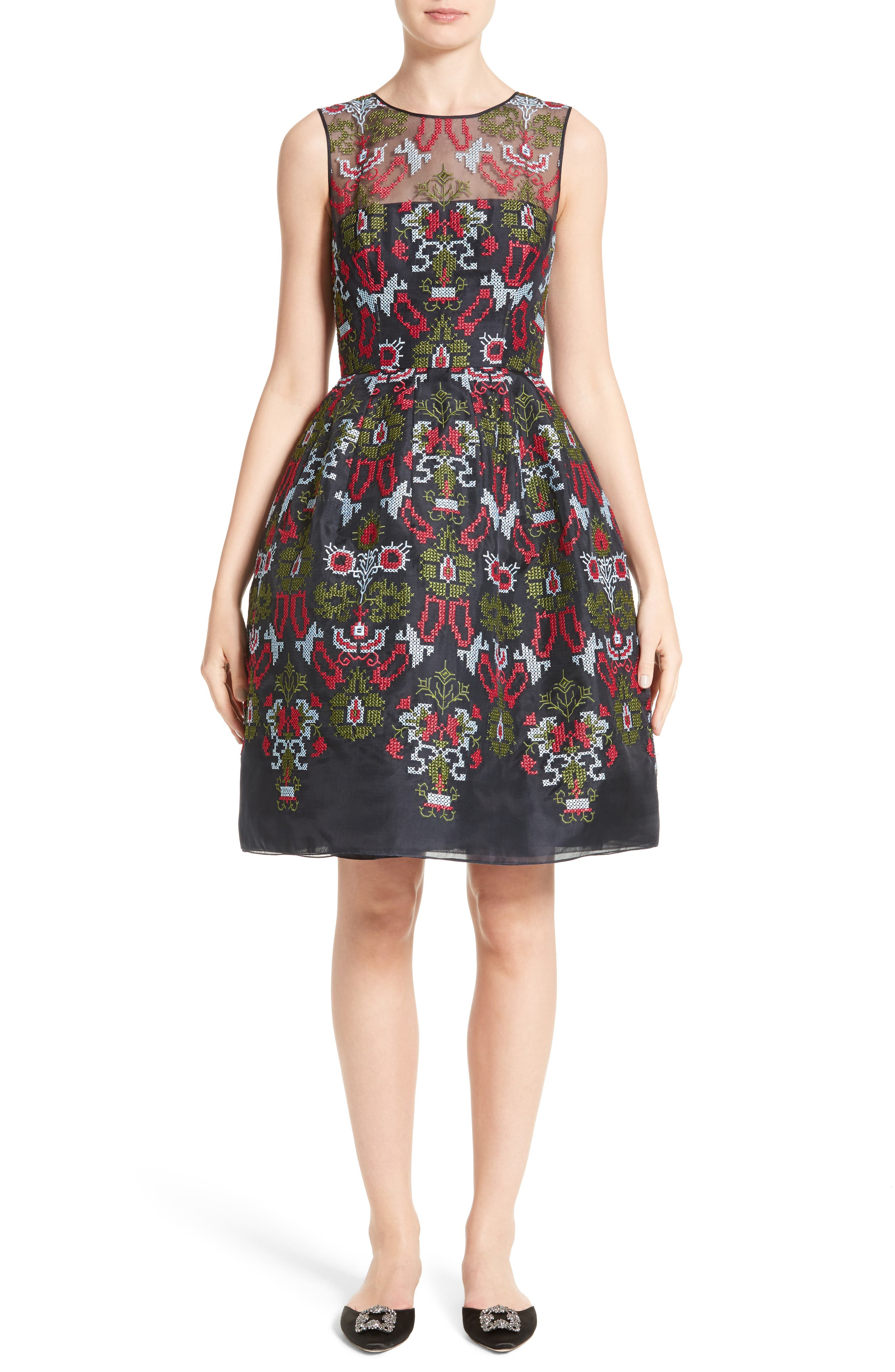 Alternate Image 1 Selected - Oscar de la Renta Needlepoint Fit & Flare Dress