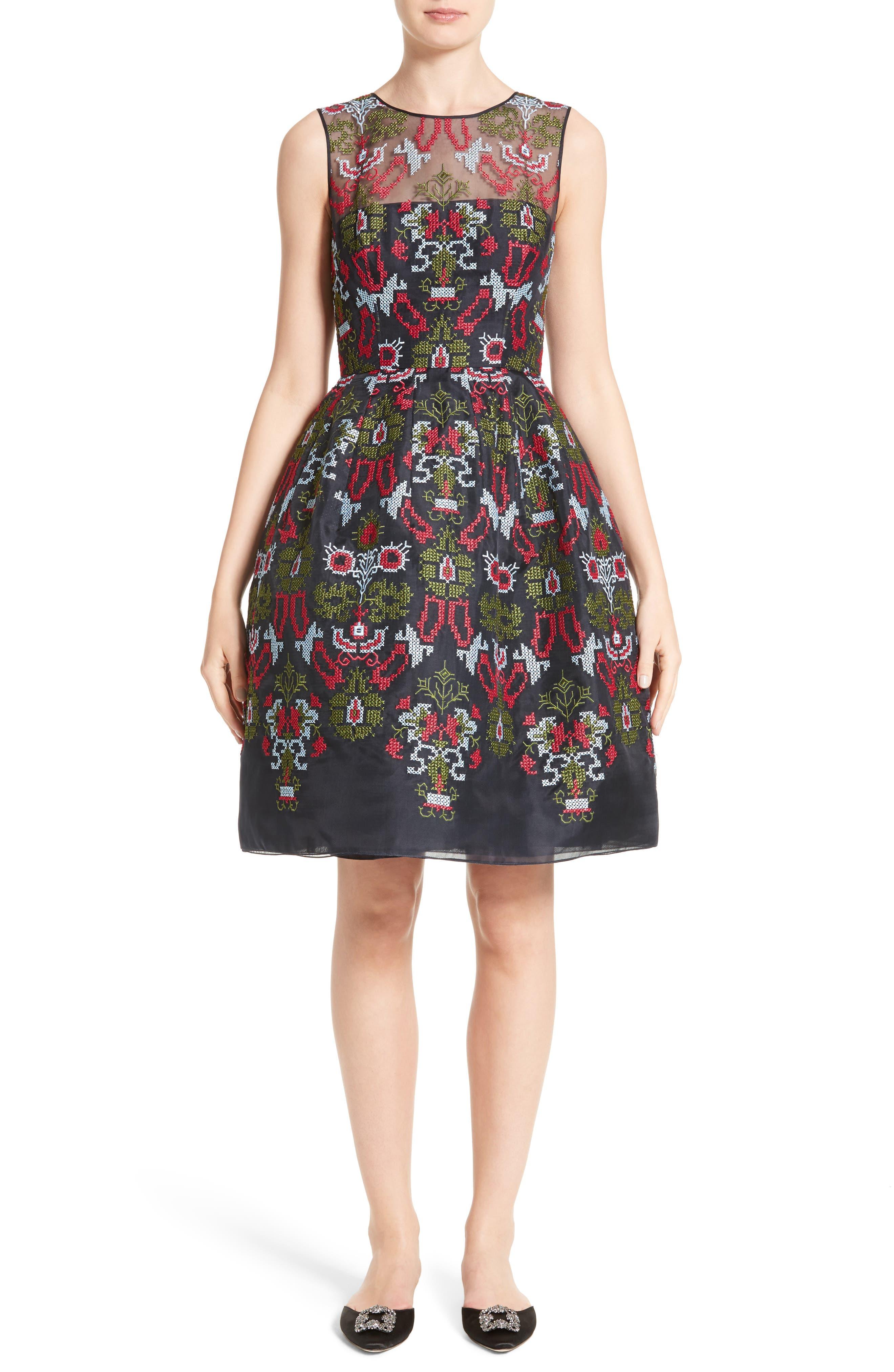 Main Image - Oscar de la Renta Needlepoint Fit & Flare Dress