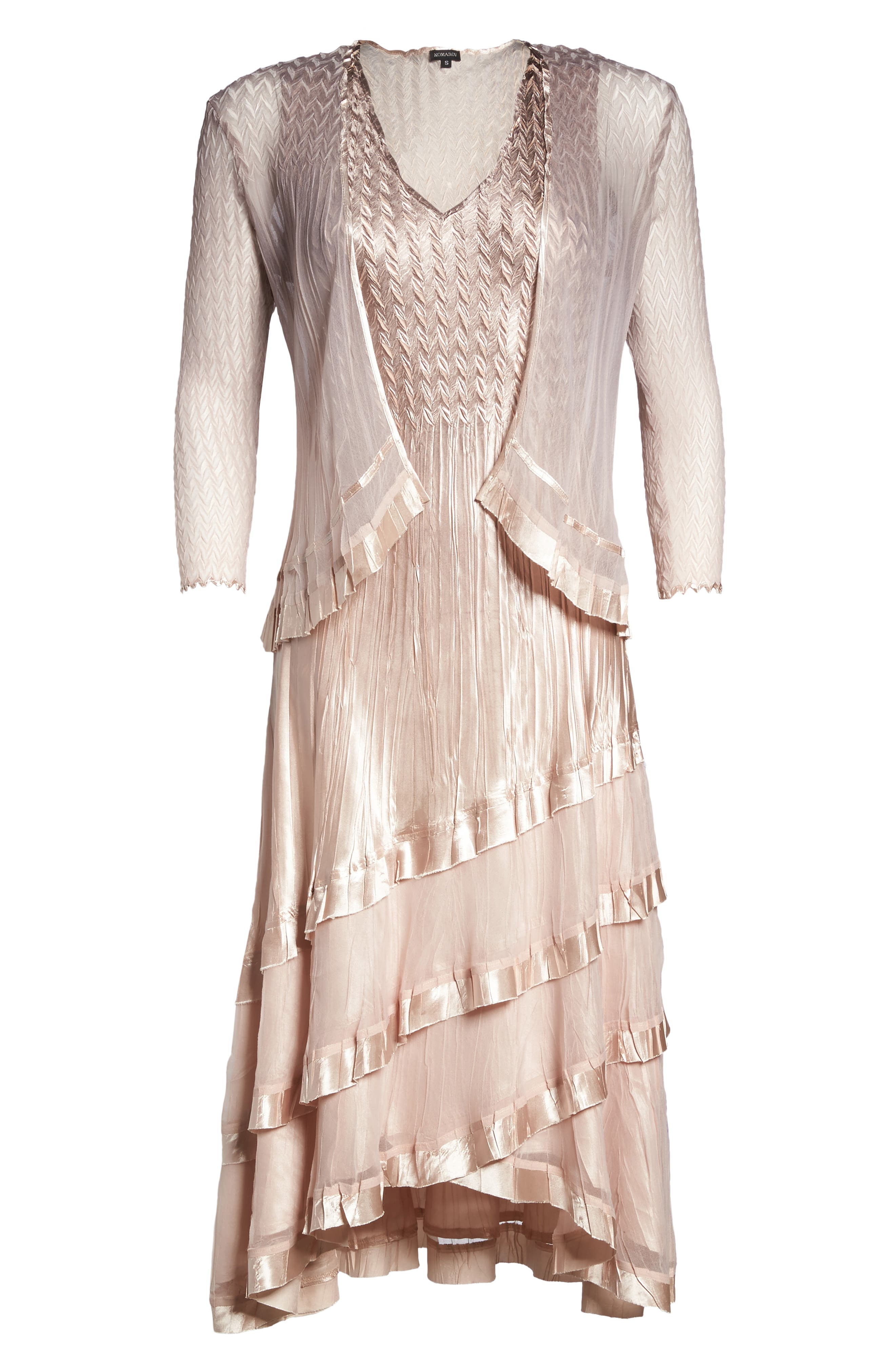Tiered Dress with Jacket,                             Alternate thumbnail 5, color,                             Vintage Rose Ombre