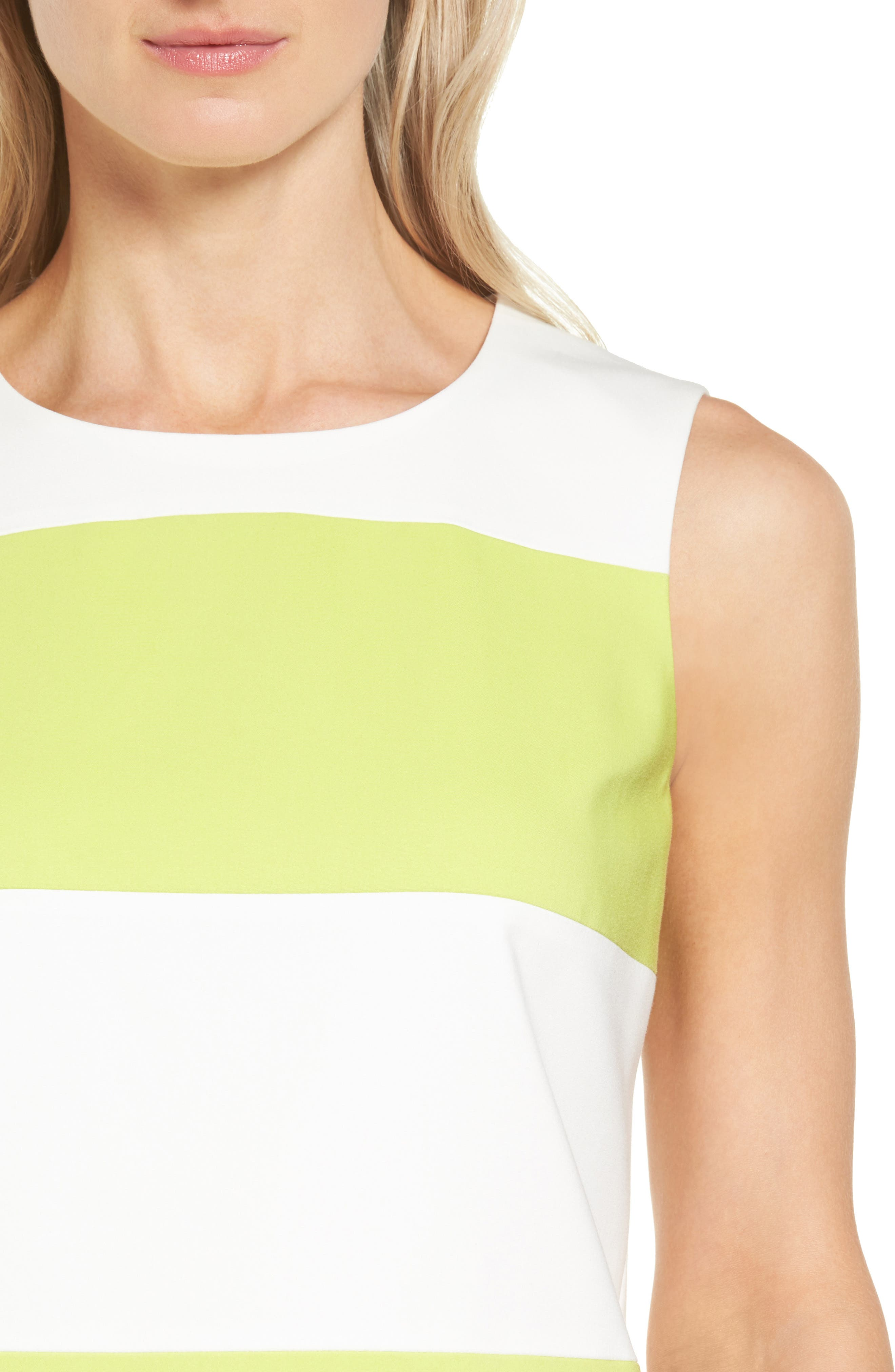 Colorblock Shift Dress,                             Alternate thumbnail 4, color,                             White/ Sprout