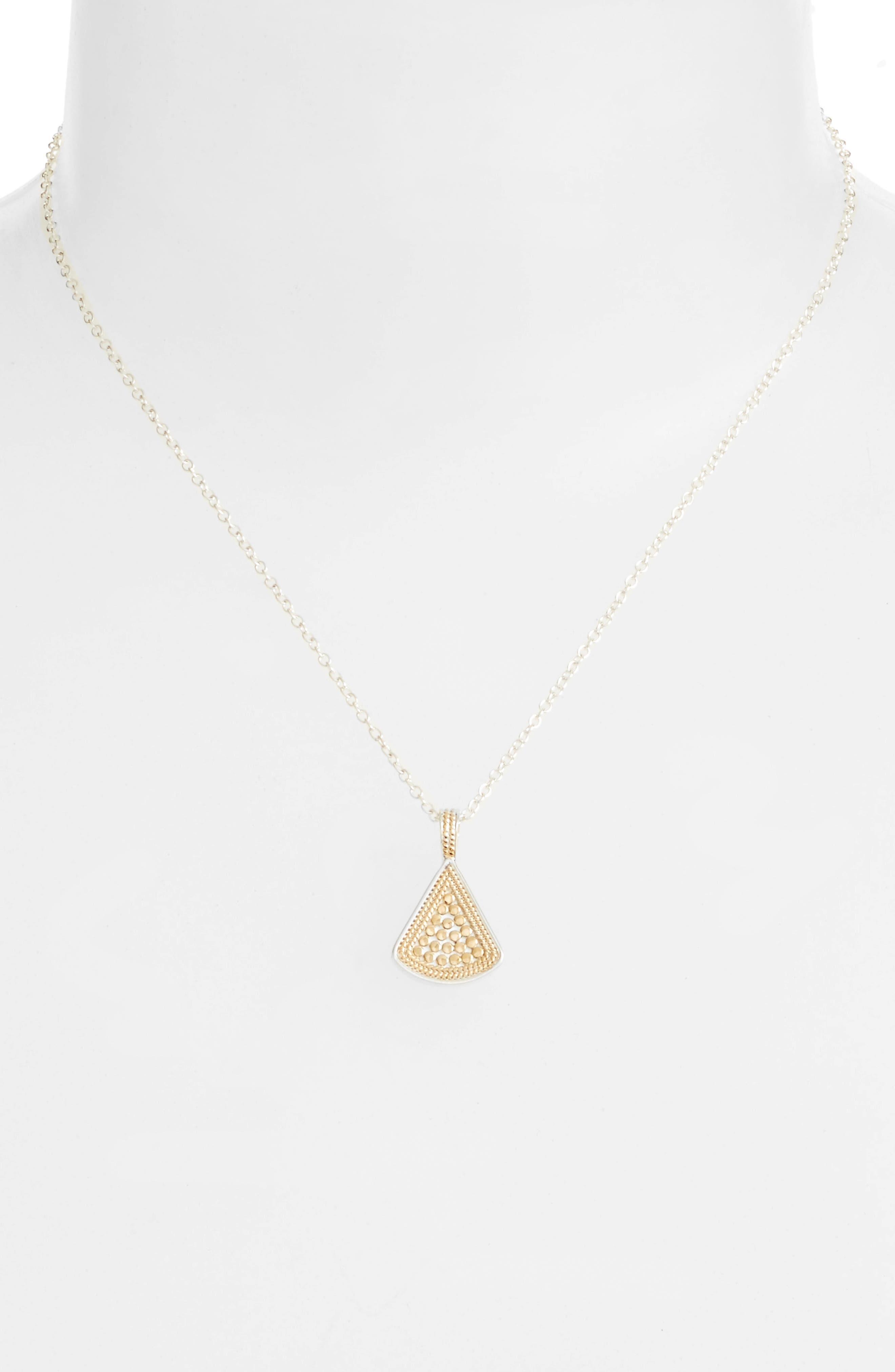 Reversible Fan Pendant Necklace,                         Main,                         color, Gold/ Silver