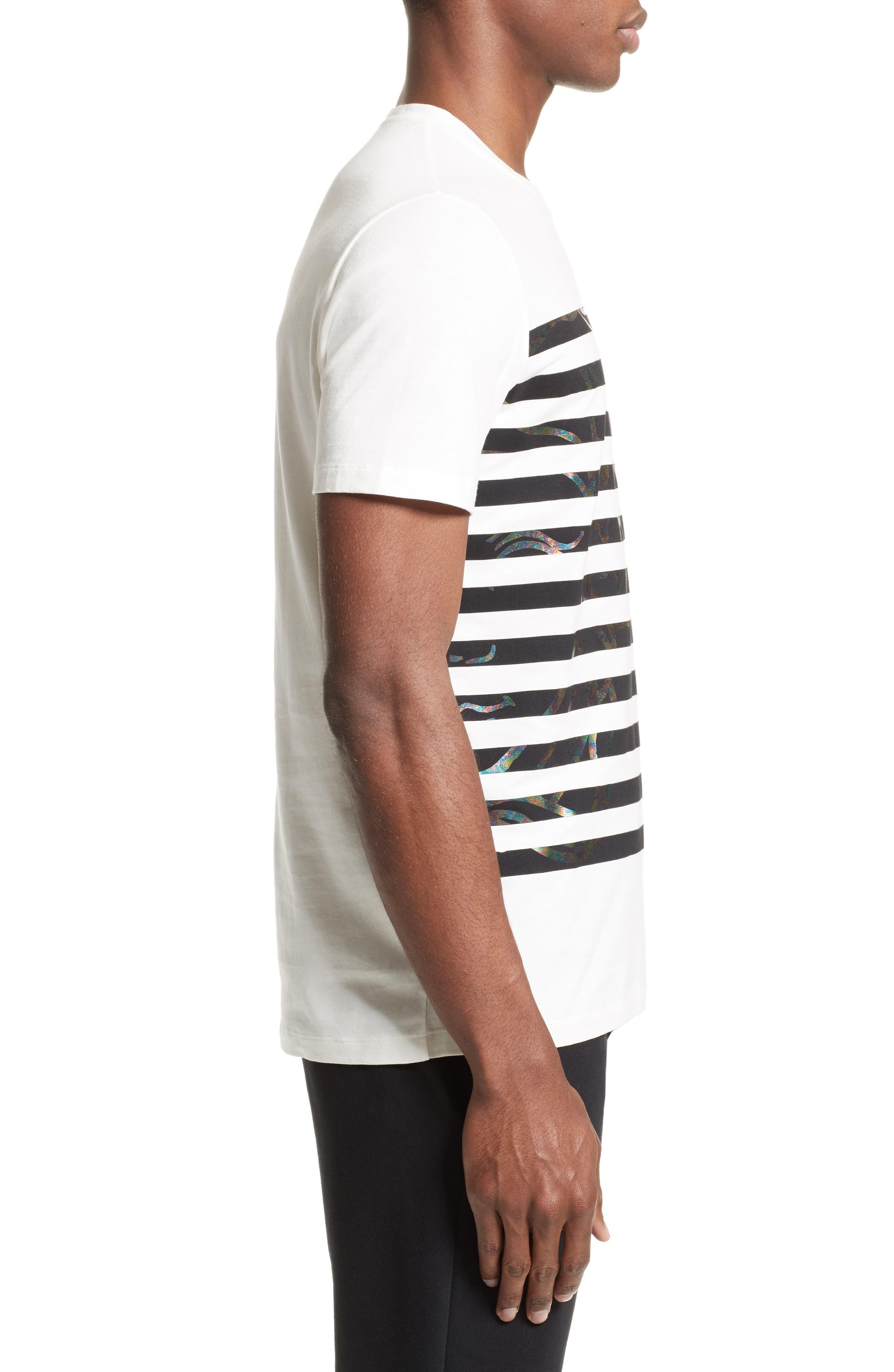Hologram Stripe T-Shirt,                             Alternate thumbnail 3, color,                             White