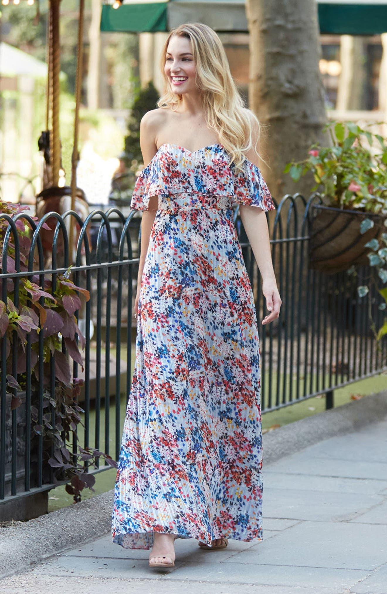 Alternate Image 2  - devlin Beth Off the Shoulder Maxi Dress